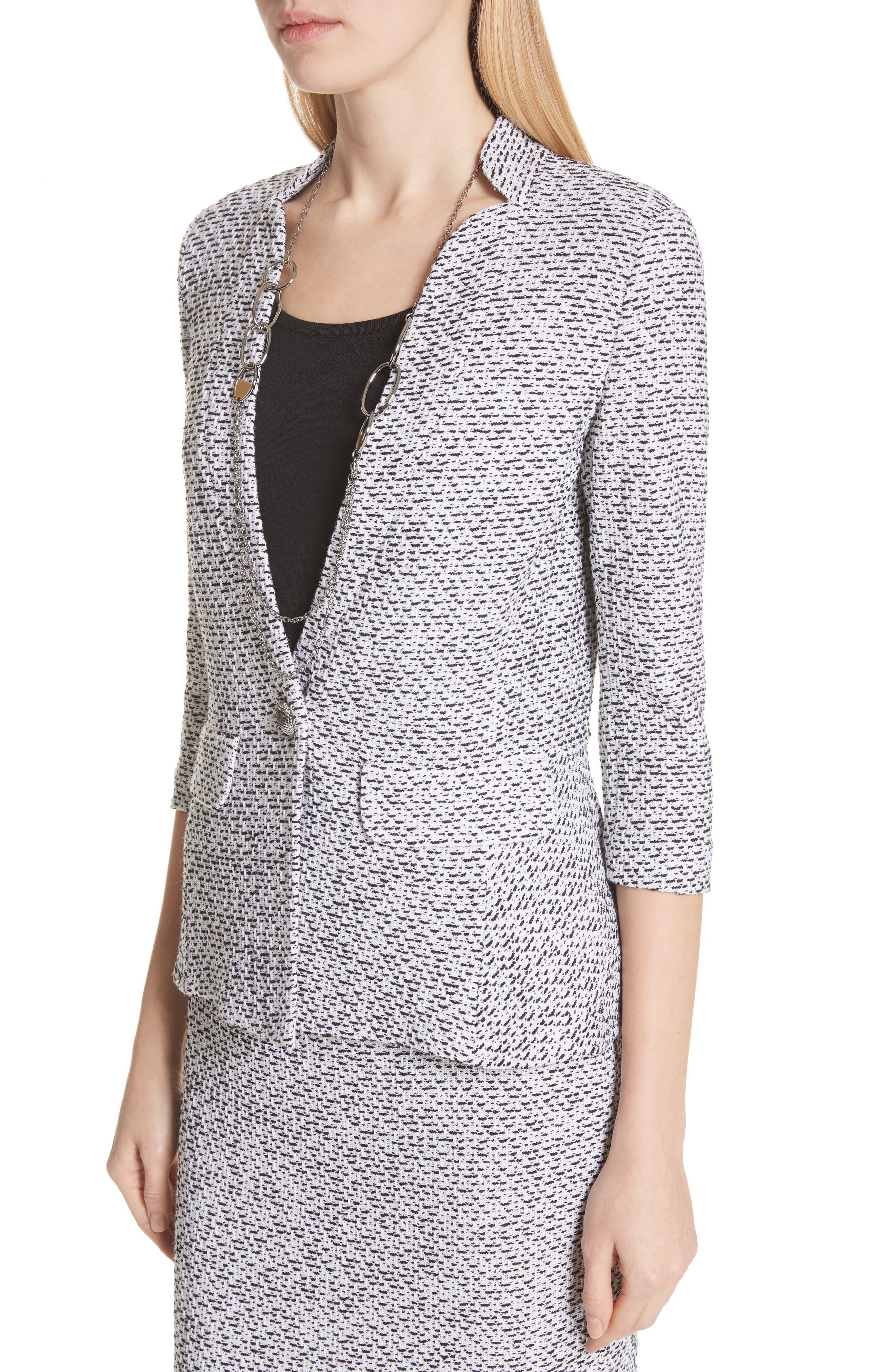 Olivia Bouclé Knit Jacket,                             Alternate thumbnail 4, color,                             WHITE/ CAVIAR