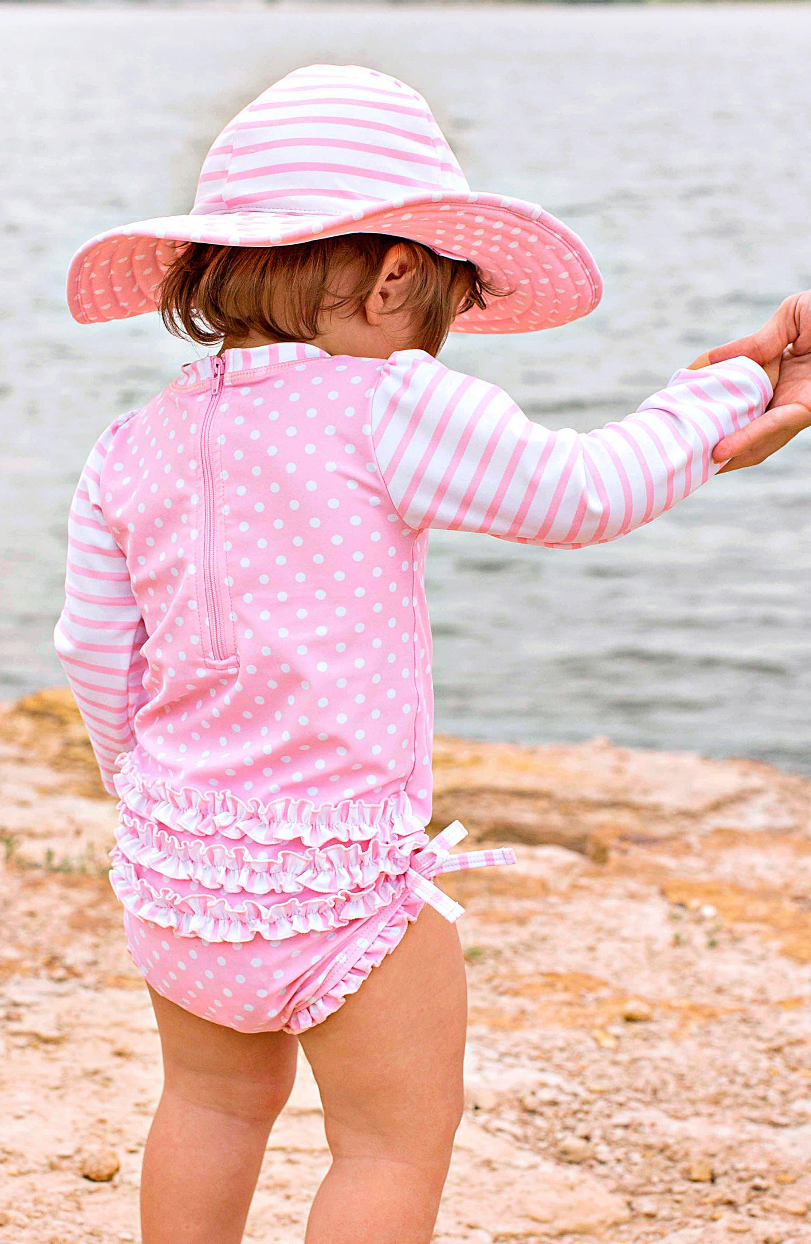 Ruffle Butts Polka Dot One-Piece Rashguard Swimsuit & Sun Hat Set,                             Alternate thumbnail 4, color,                             PINK