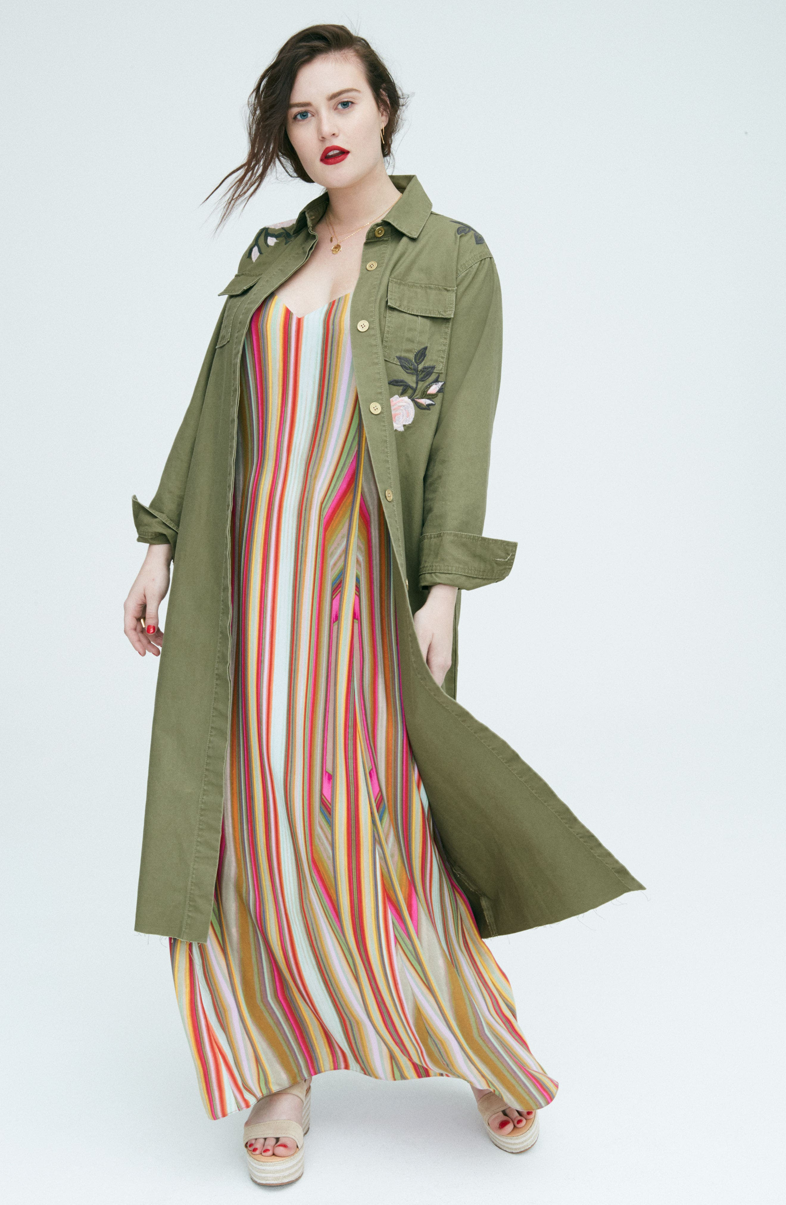 Embroidered Army Duster,                             Alternate thumbnail 8, color,                             ARMY