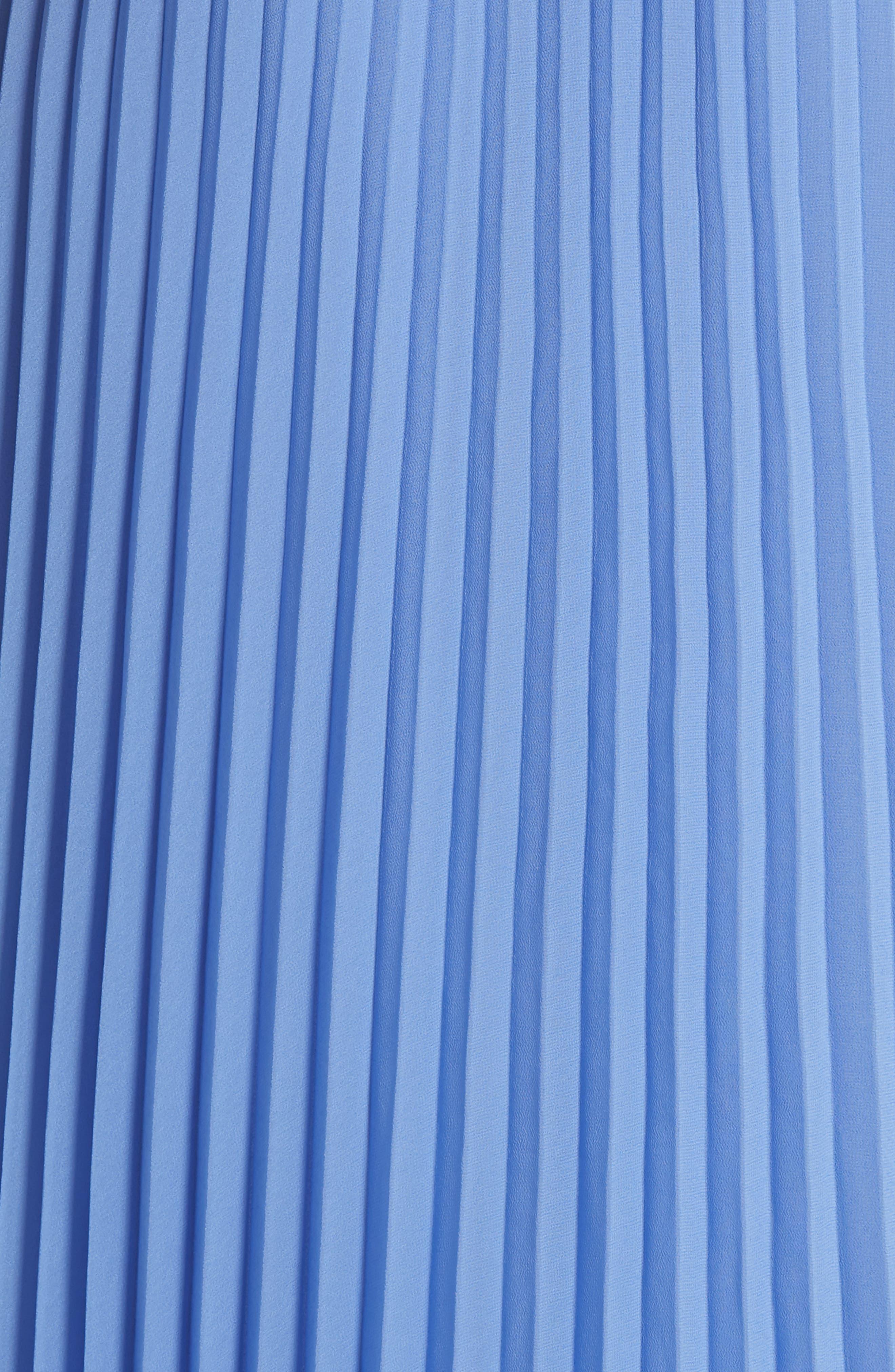 Pleat Midi Skirt,                             Alternate thumbnail 5, color,                             BERMUDA BLUE