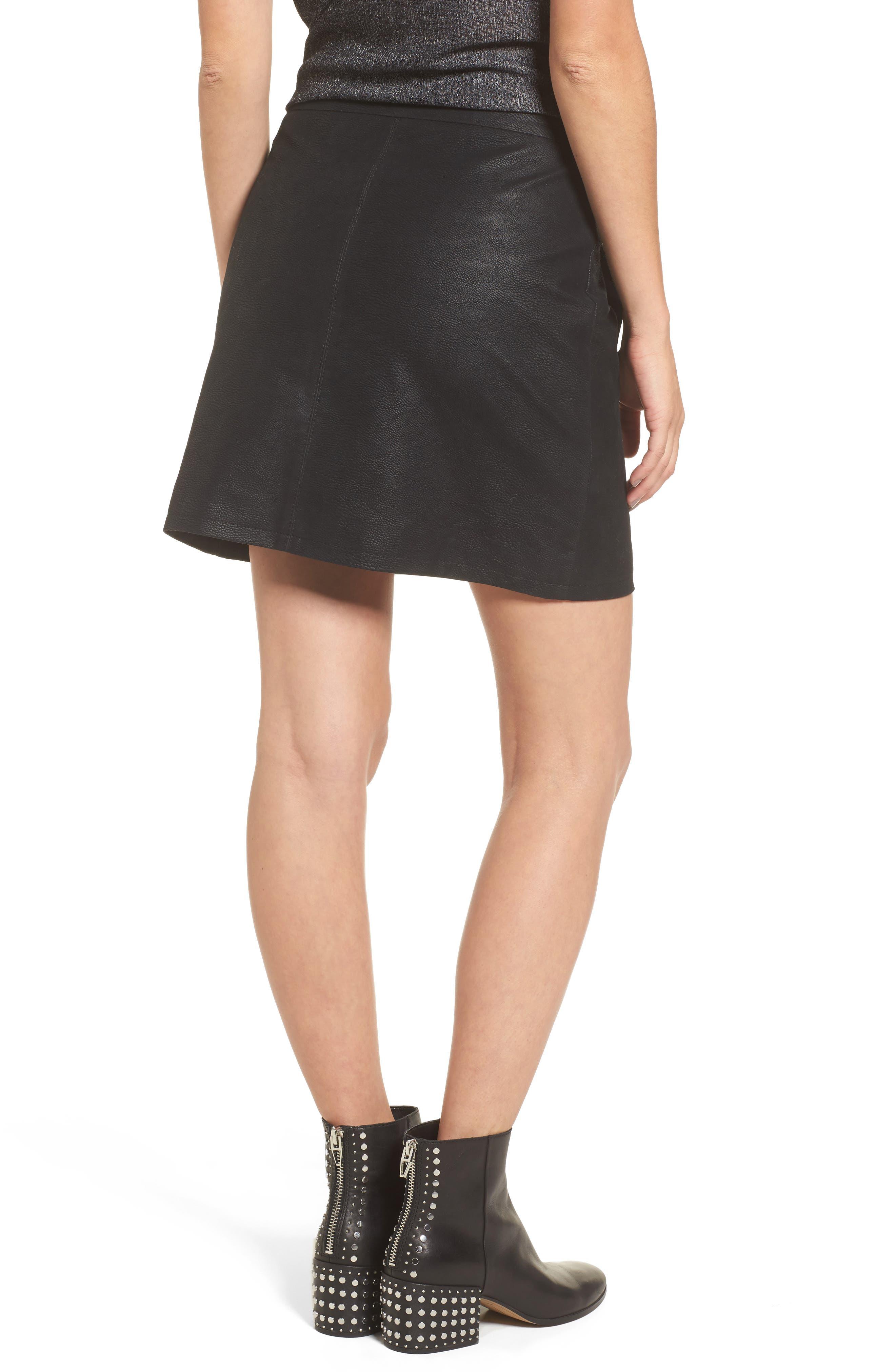 Studded Faux Leather Miniskirt,                             Alternate thumbnail 2, color,                             001
