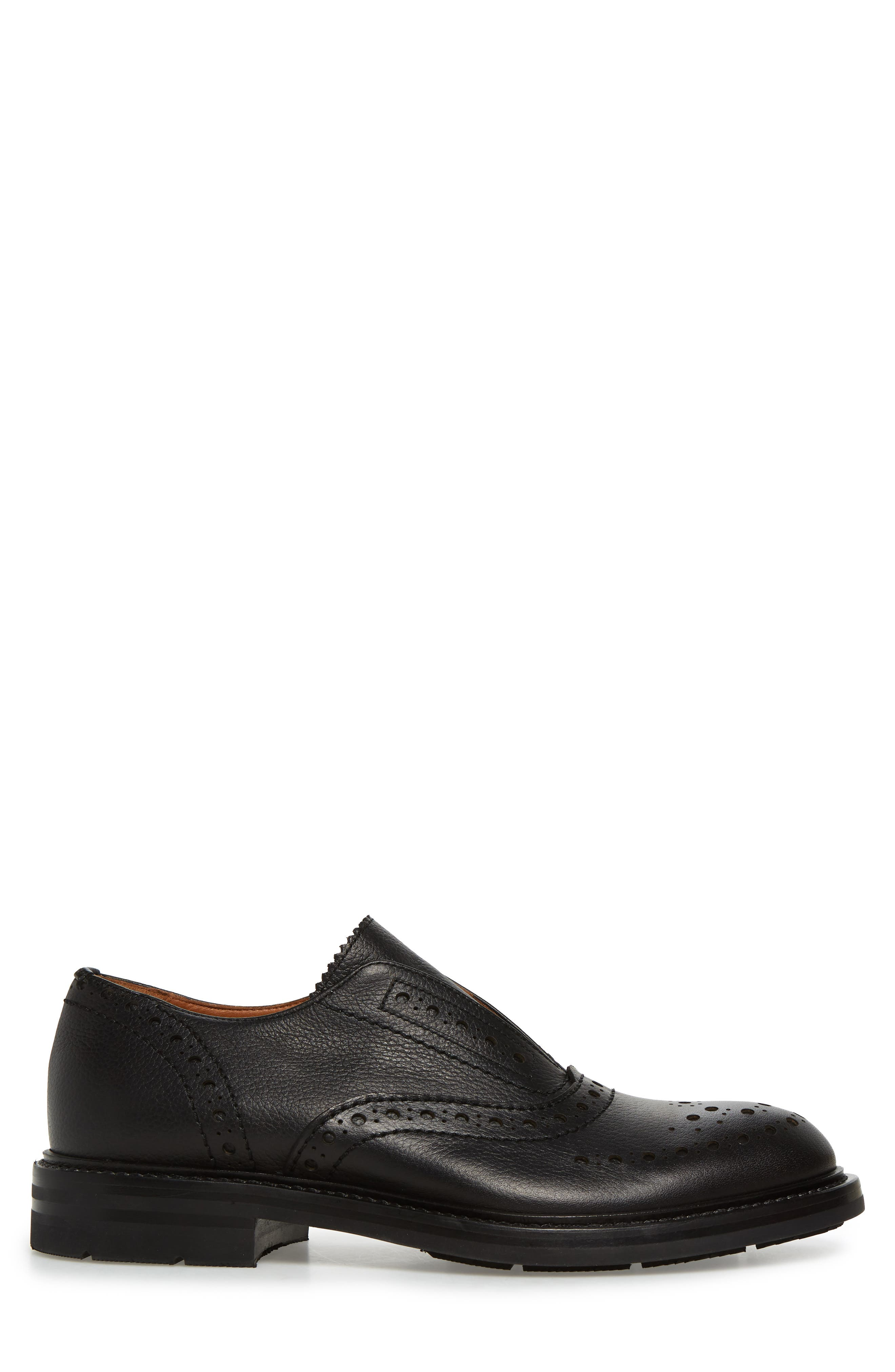 Romeo Weatherproof Laceless Oxford,                             Alternate thumbnail 3, color,                             BLACK LEATHER