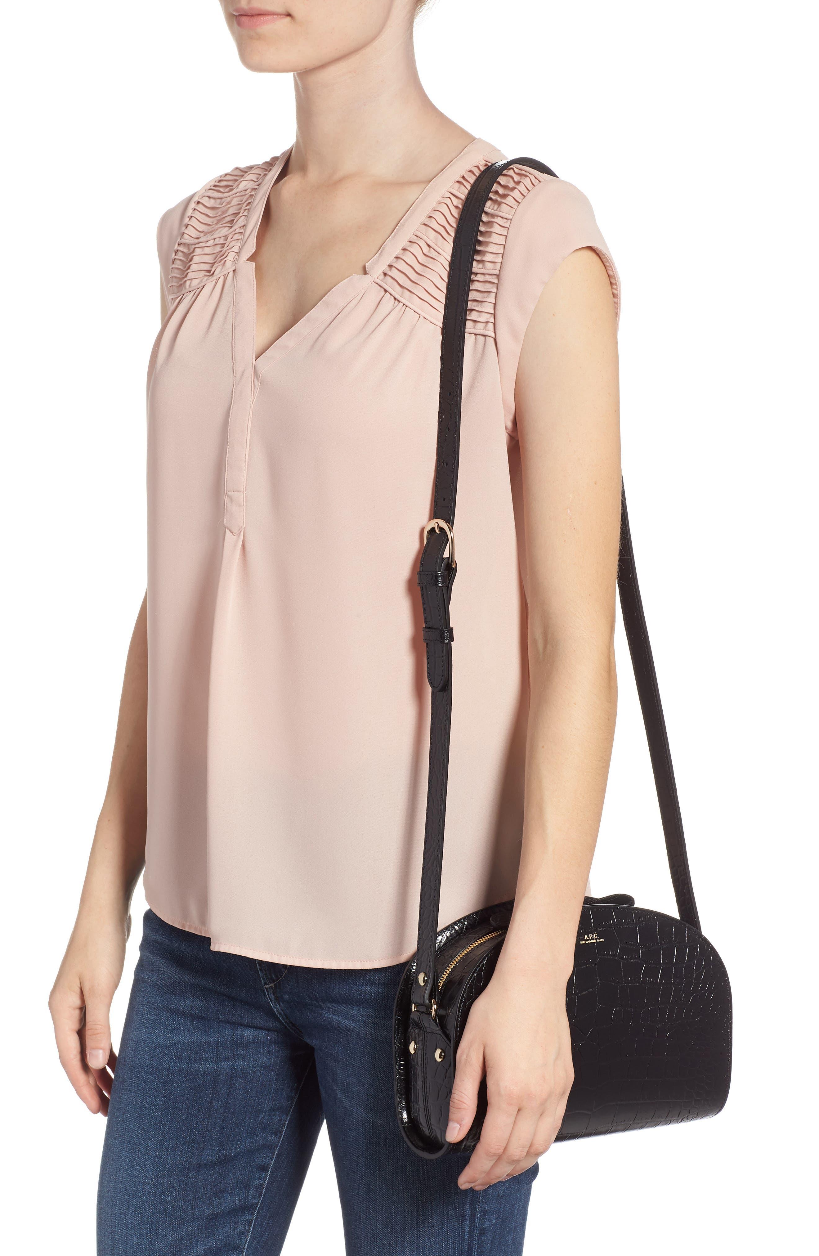 Sac Demi Lune Leather Shoulder Bag,                             Alternate thumbnail 2, color,                             001