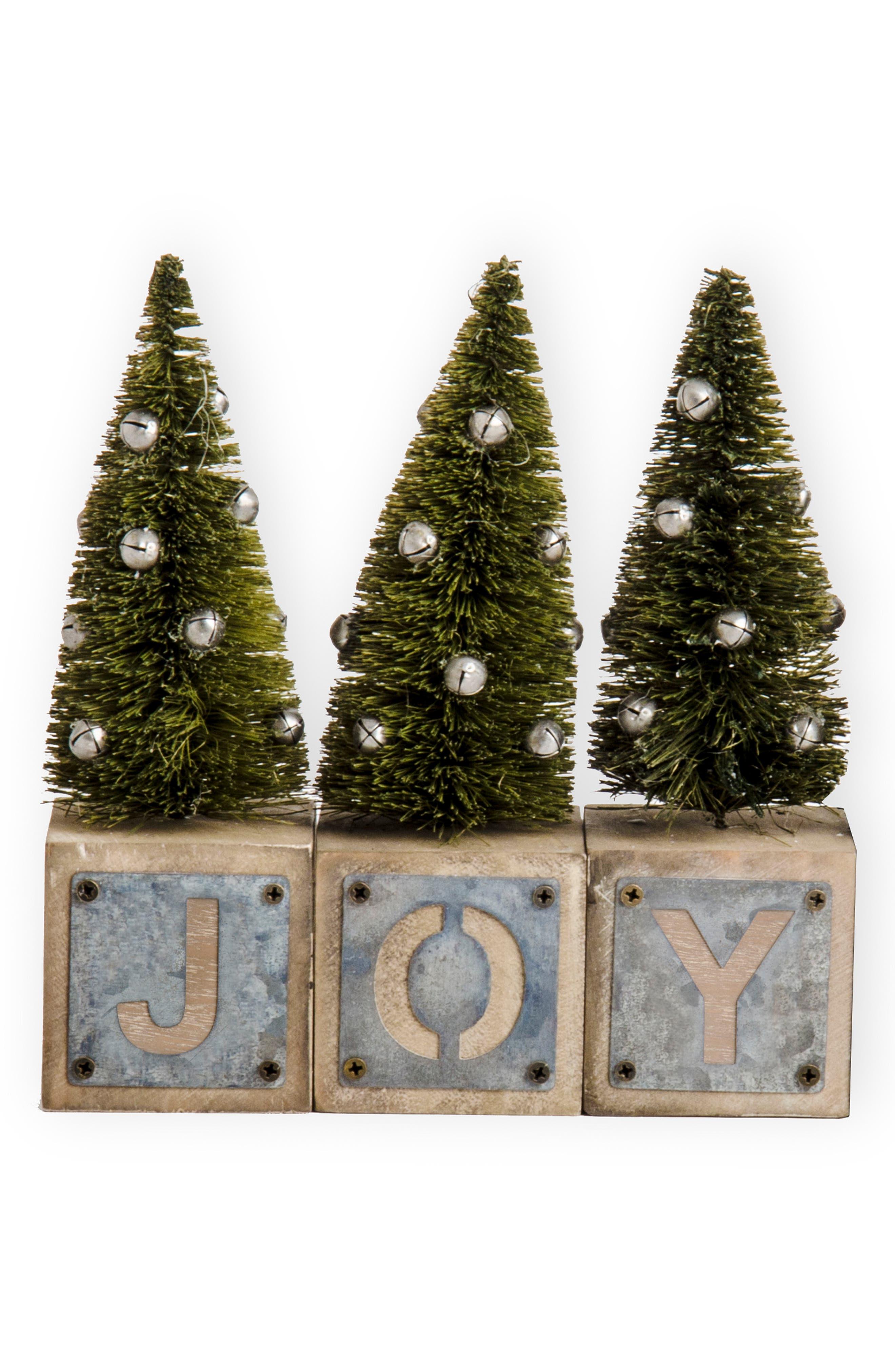 Joy Galvanized Snowflake Blocks,                         Main,                         color, GREEN