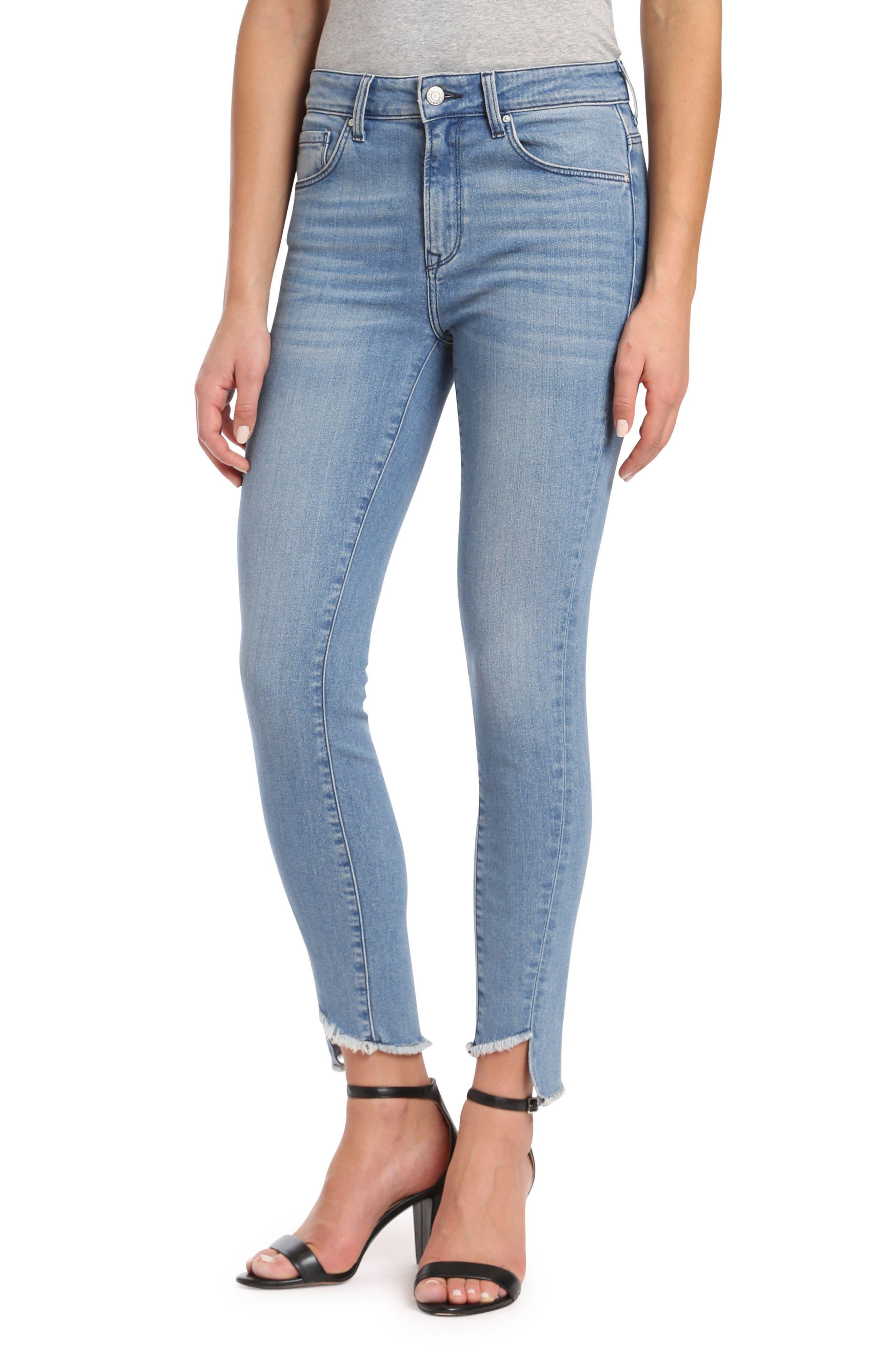 Tess Twisted Step Hem Skinny Jeans,                             Main thumbnail 1, color,                             400