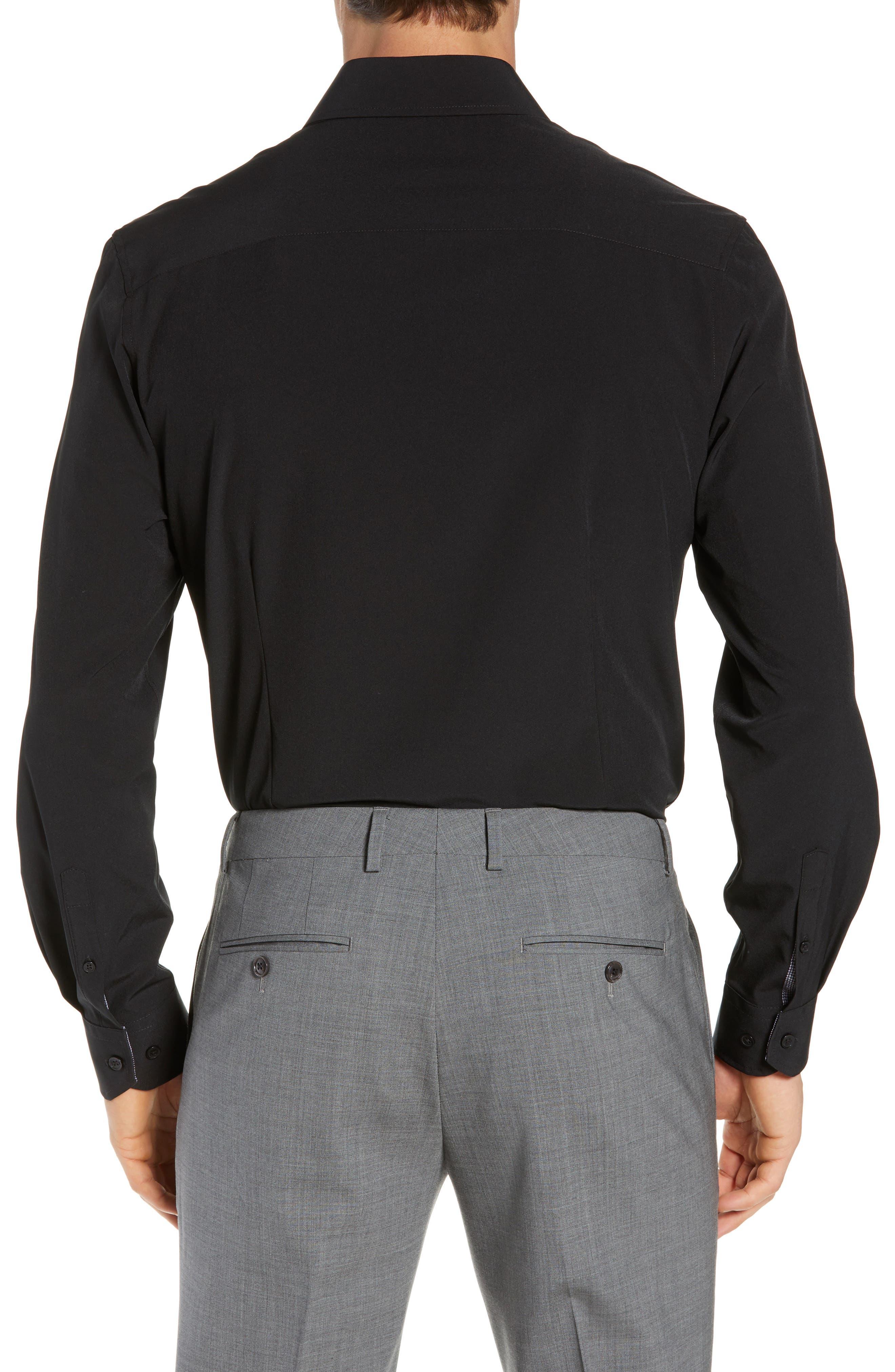 Trim Fit Stretch Solid Dress Shirt,                             Alternate thumbnail 3, color,                             BLACK
