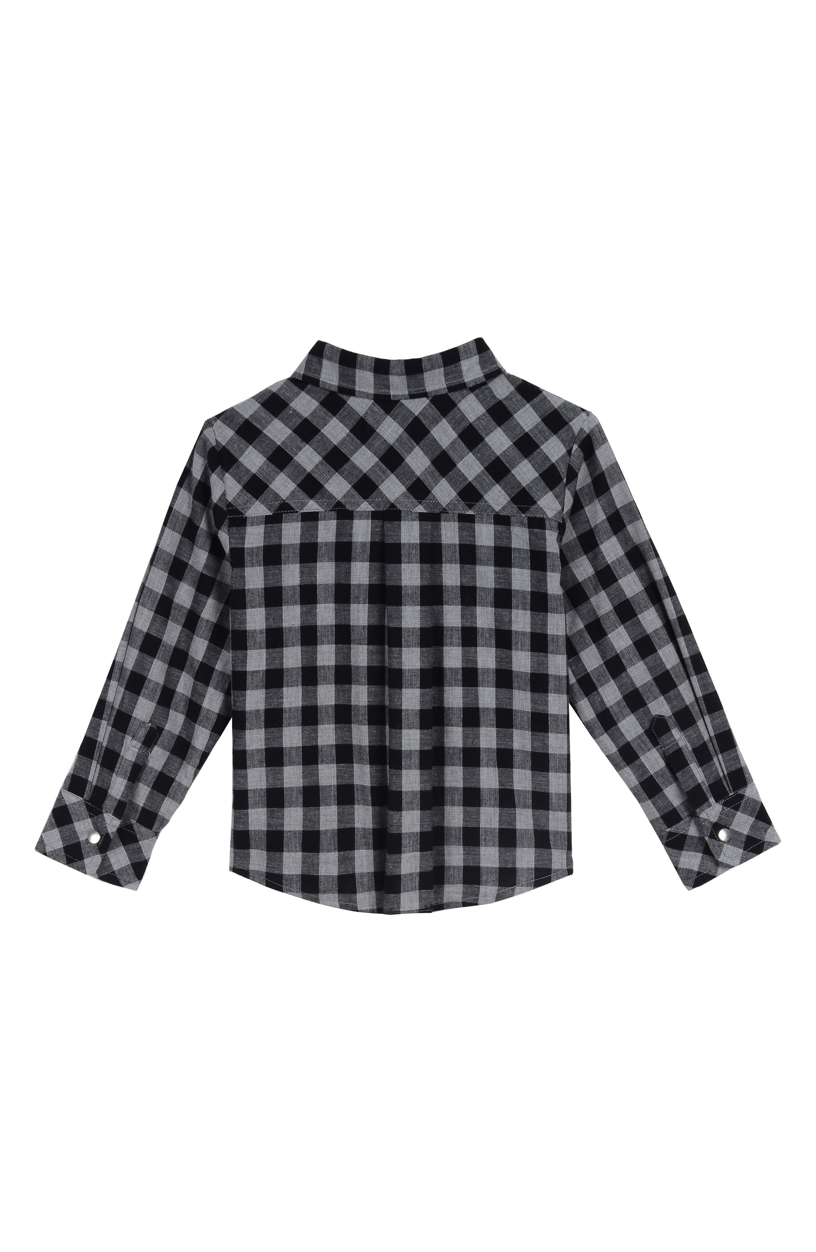 x Disney Plaid Shirt, T-Shirt & Pants Set,                             Alternate thumbnail 2, color,                             BLACK / GREY