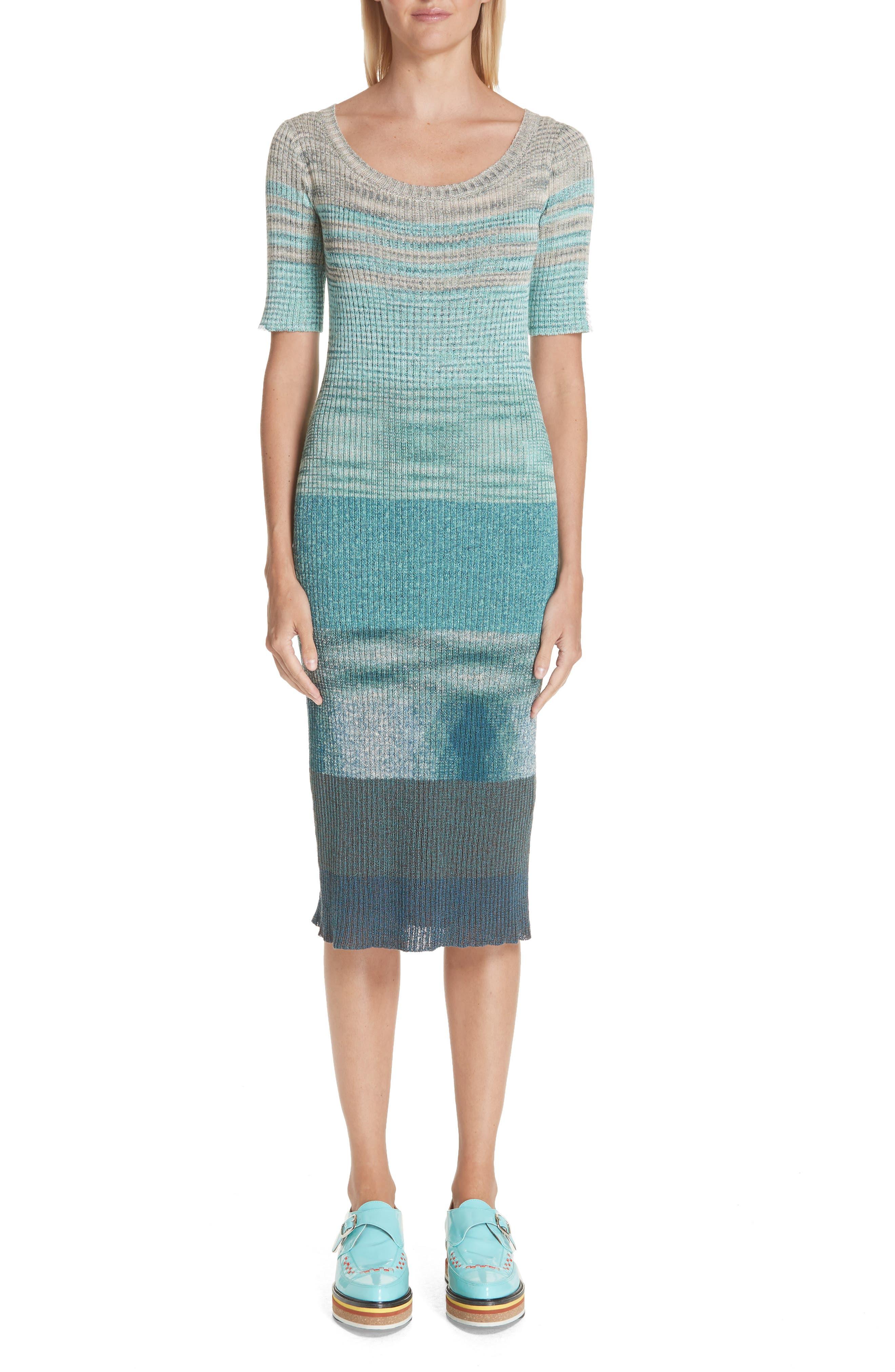 Boatneck Ribbed Dress, Main, color, BLUE