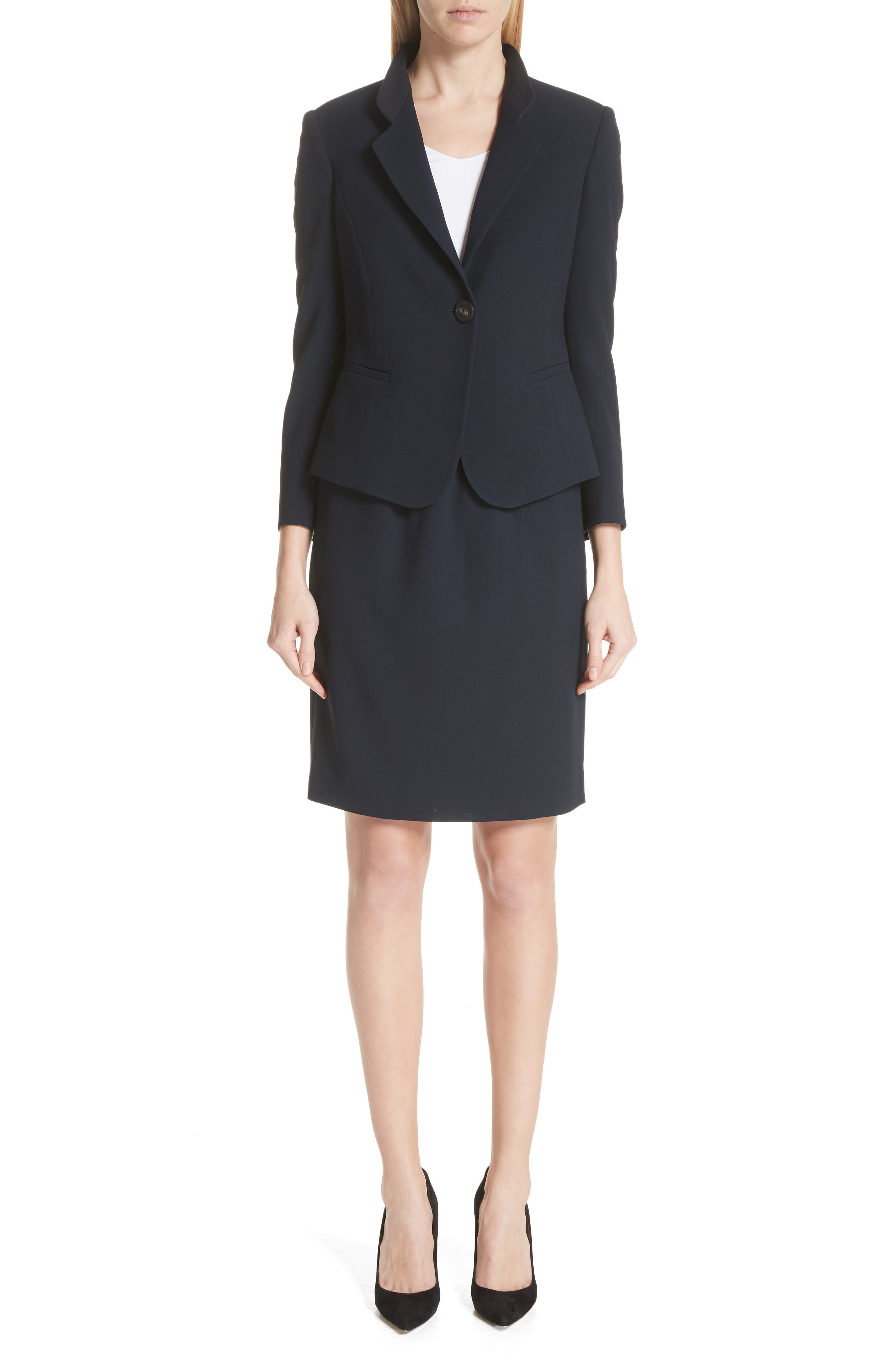 Pop Collar Stretch Wool Crepe Blazer,                             Alternate thumbnail 7, color,                             403