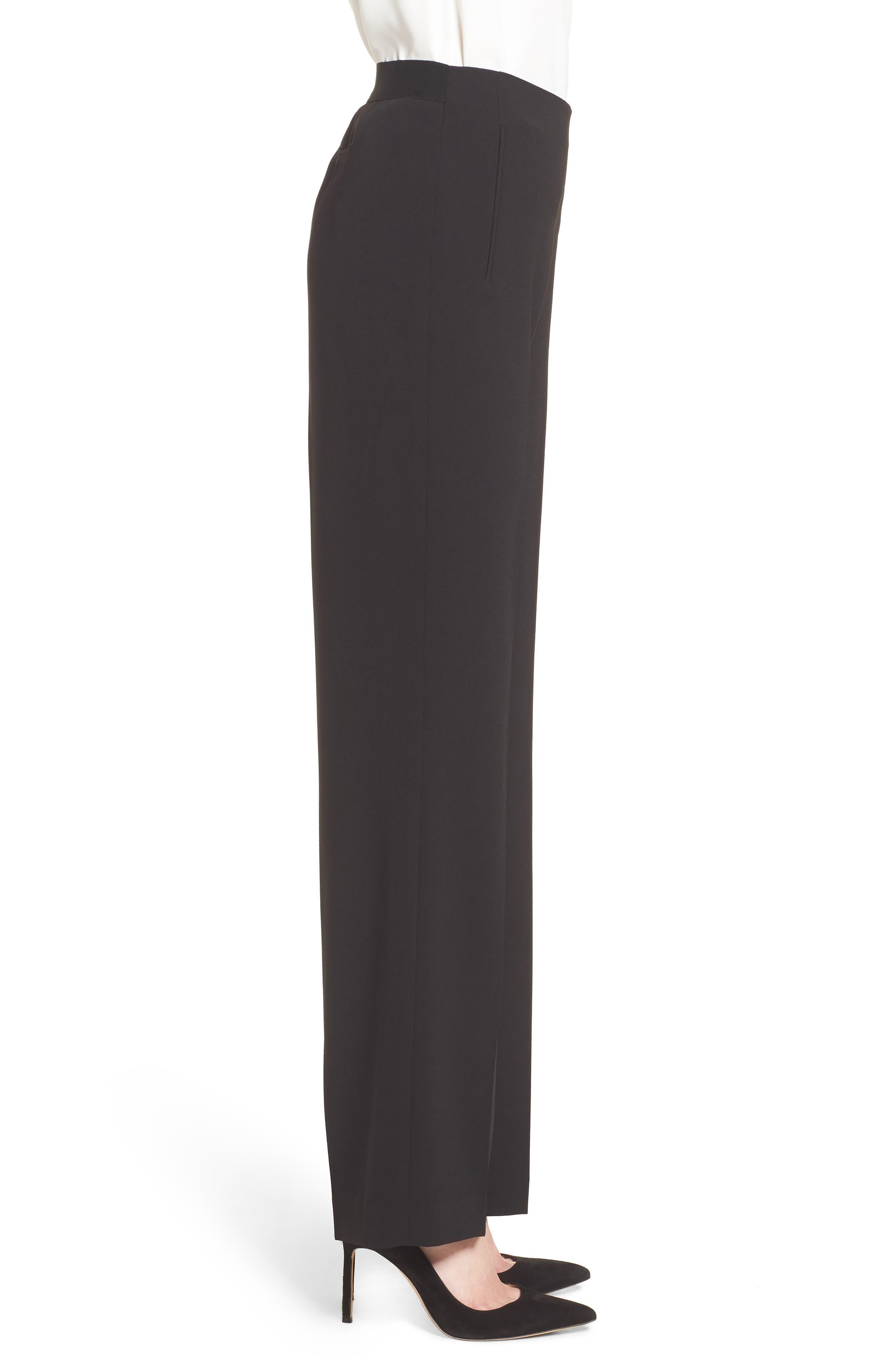 Crepe Straight Leg Pants,                             Alternate thumbnail 4, color,                             006