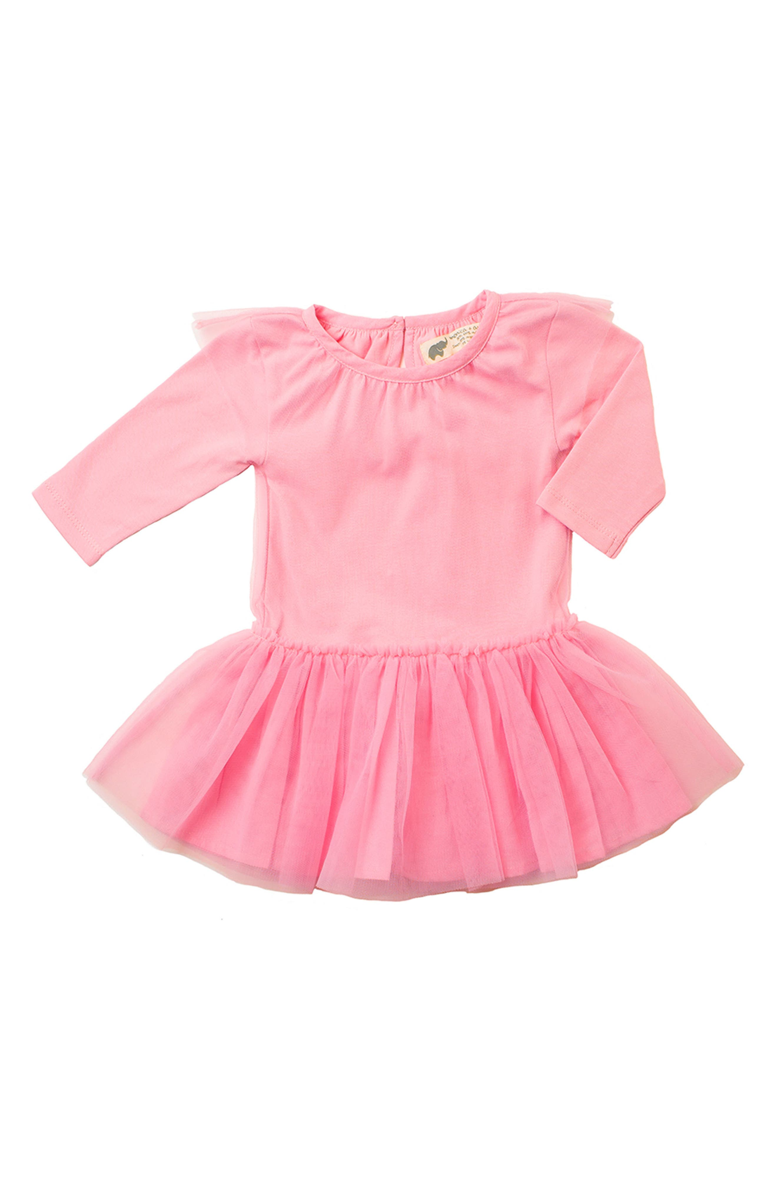 Little Belle Tulle Dress,                         Main,                         color, HOT PINK