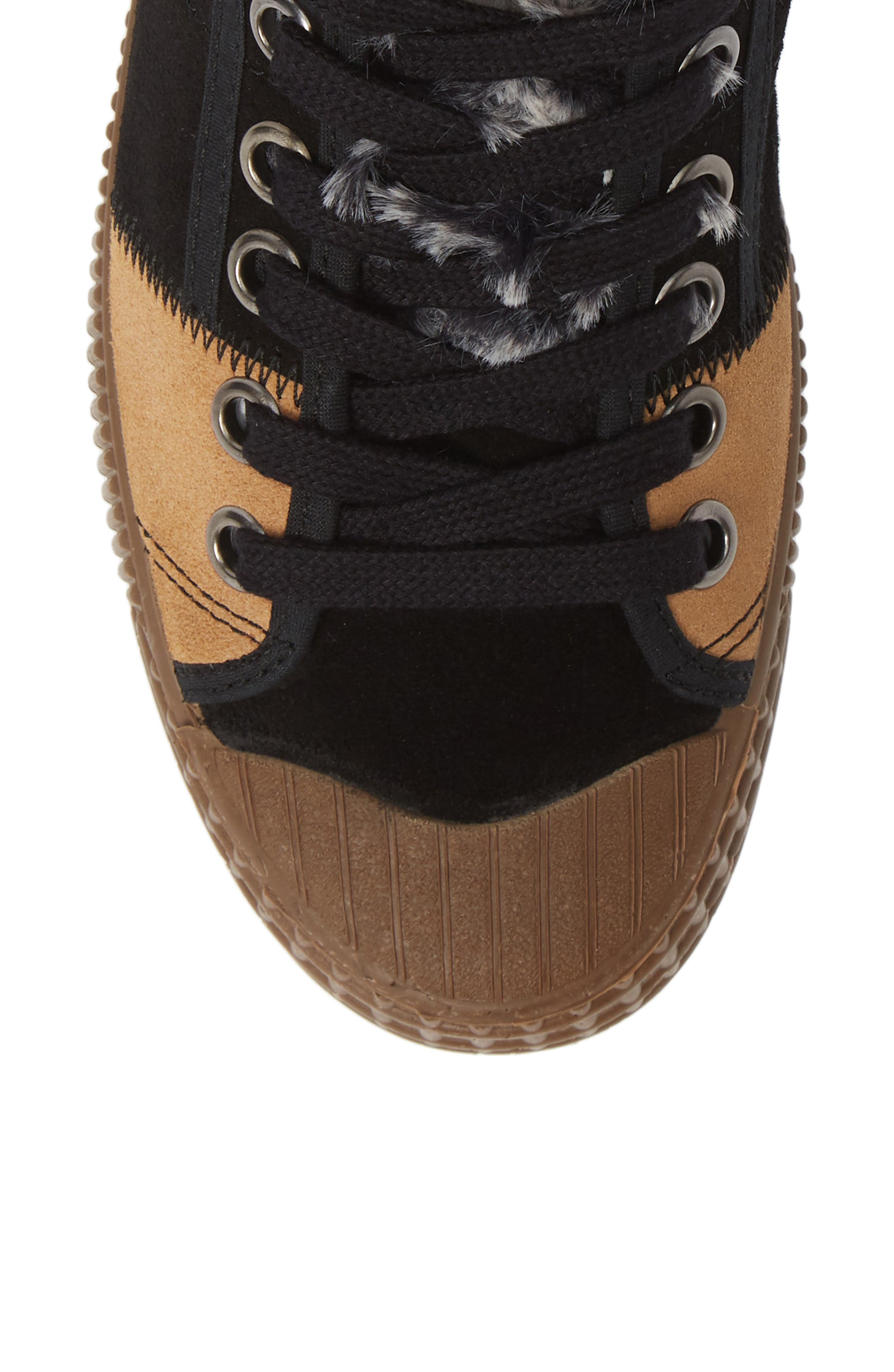 Femp High Top Sneaker,                             Alternate thumbnail 5, color,                             BLACK/ CAMEL SUEDE
