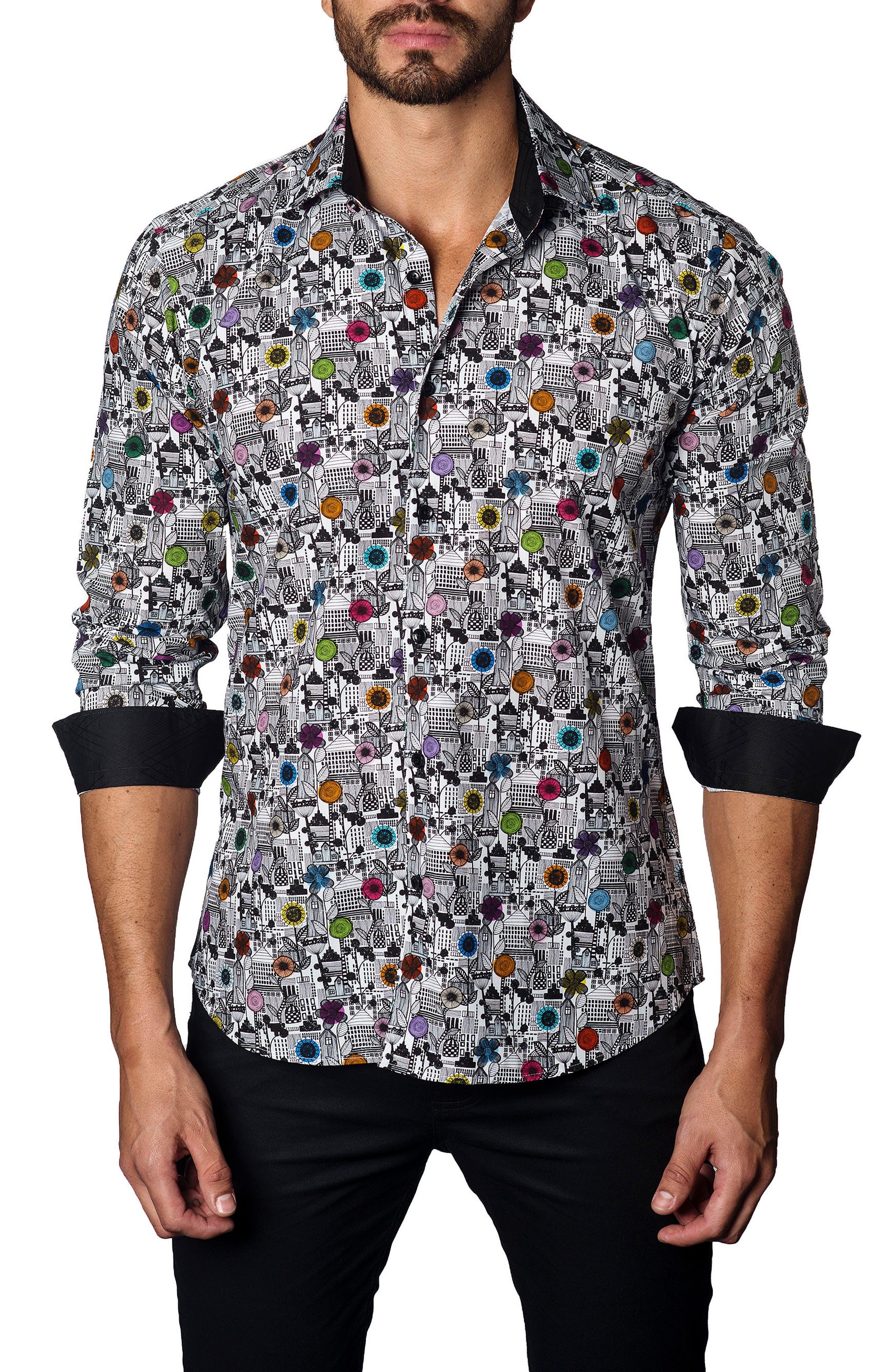 JARED LANG,                             Trim Fit Print Sport Shirt,                             Main thumbnail 1, color,                             100