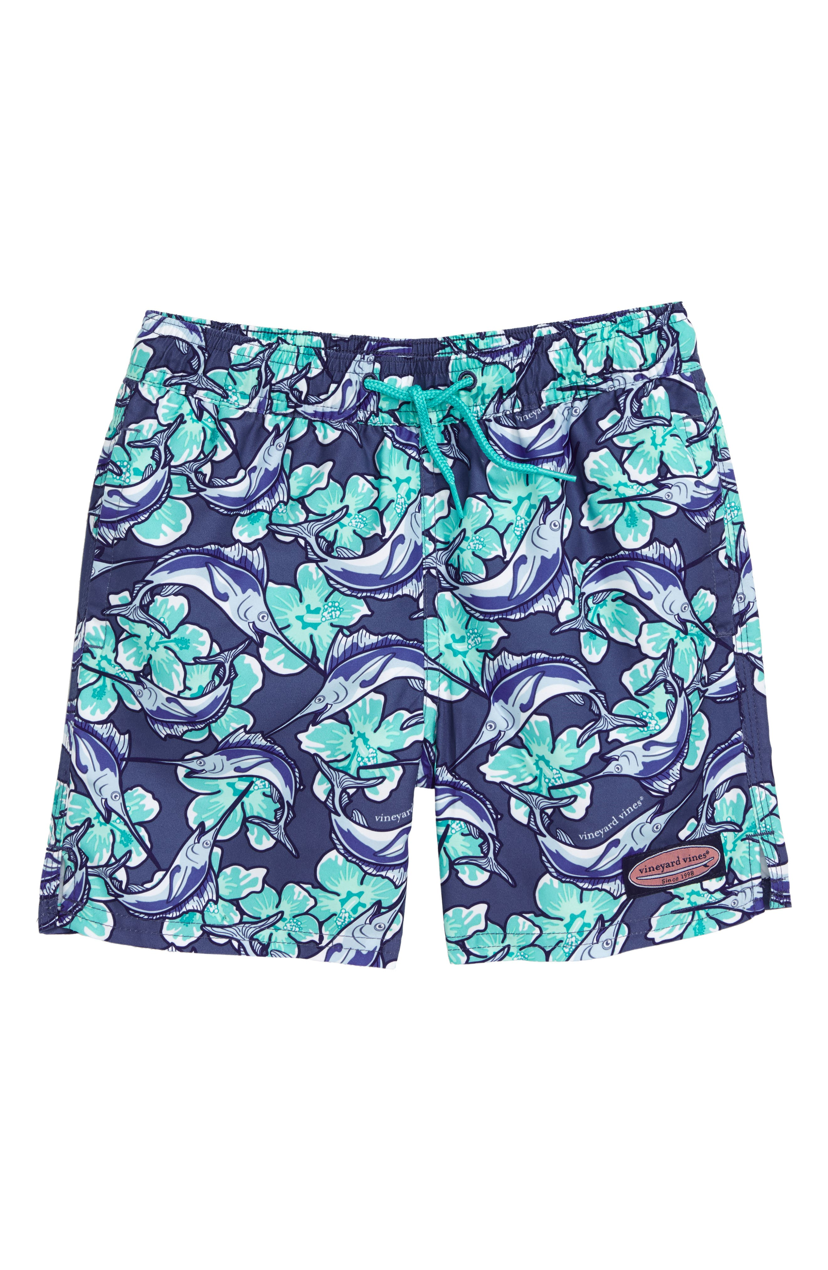 Chappy Marlin Flower Swim Trunks,                             Main thumbnail 1, color,                             MOONSHINE
