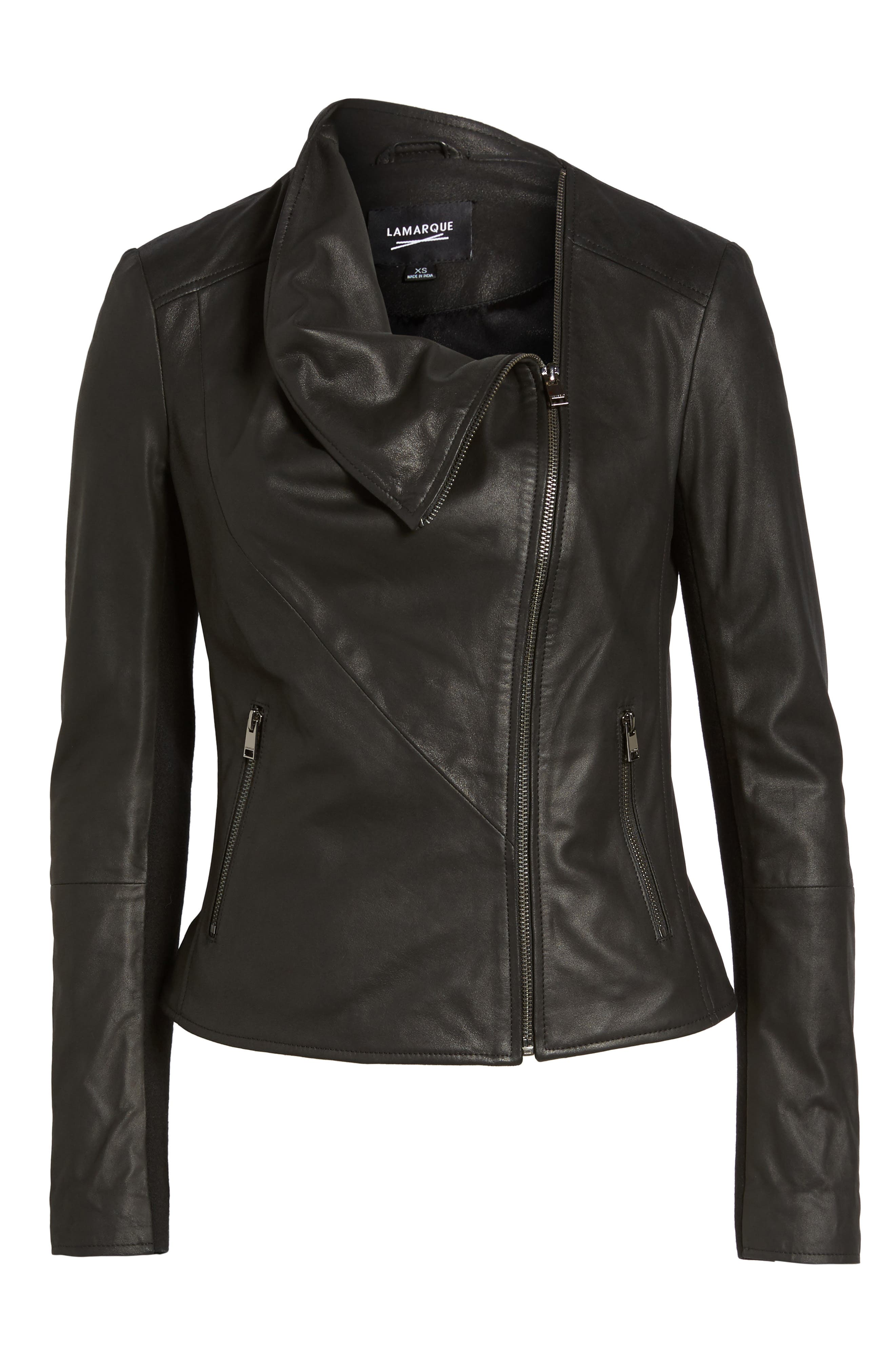 Cascade Leather Jacket,                             Alternate thumbnail 5, color,                             001