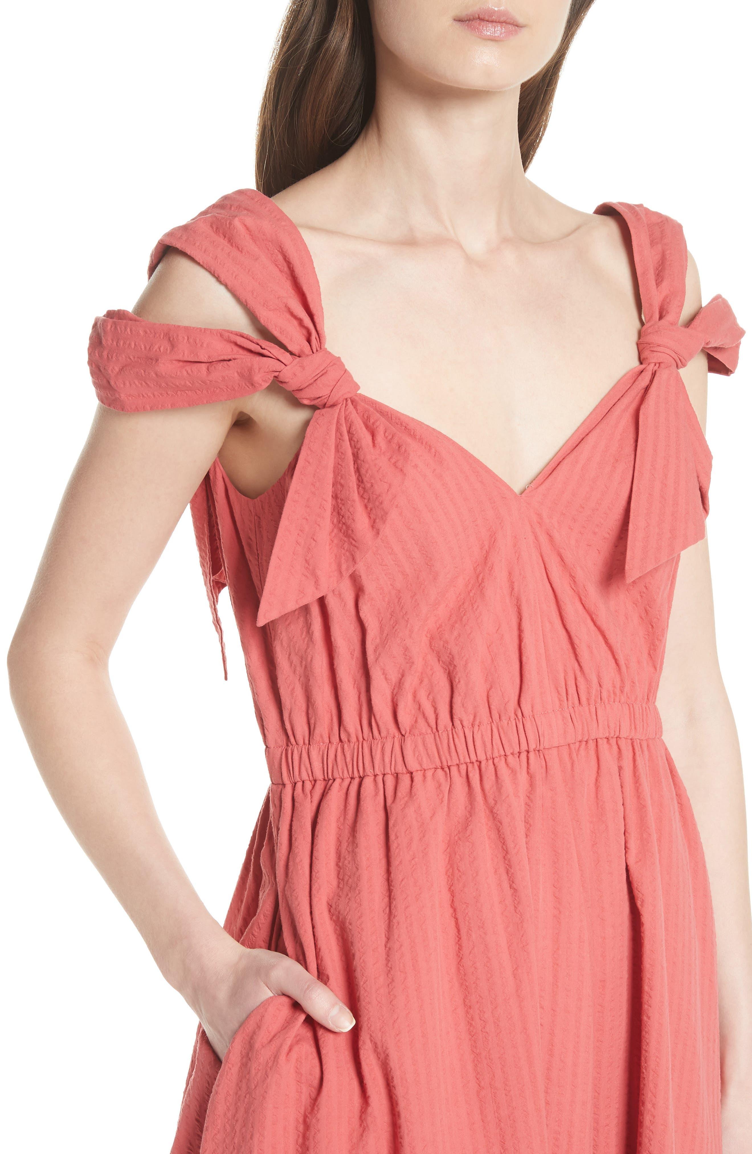 Cold Shoulder Seersucker Dress,                             Alternate thumbnail 4, color,                             612