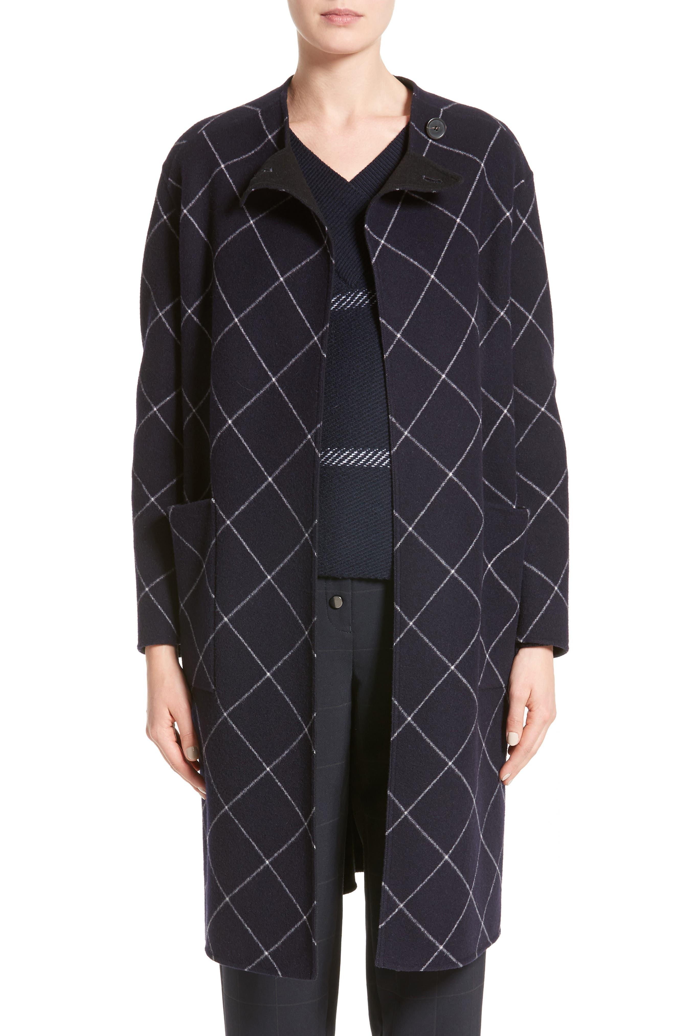 Windowpane Wool & Cashmere Wrap Coat,                         Main,                         color, 400