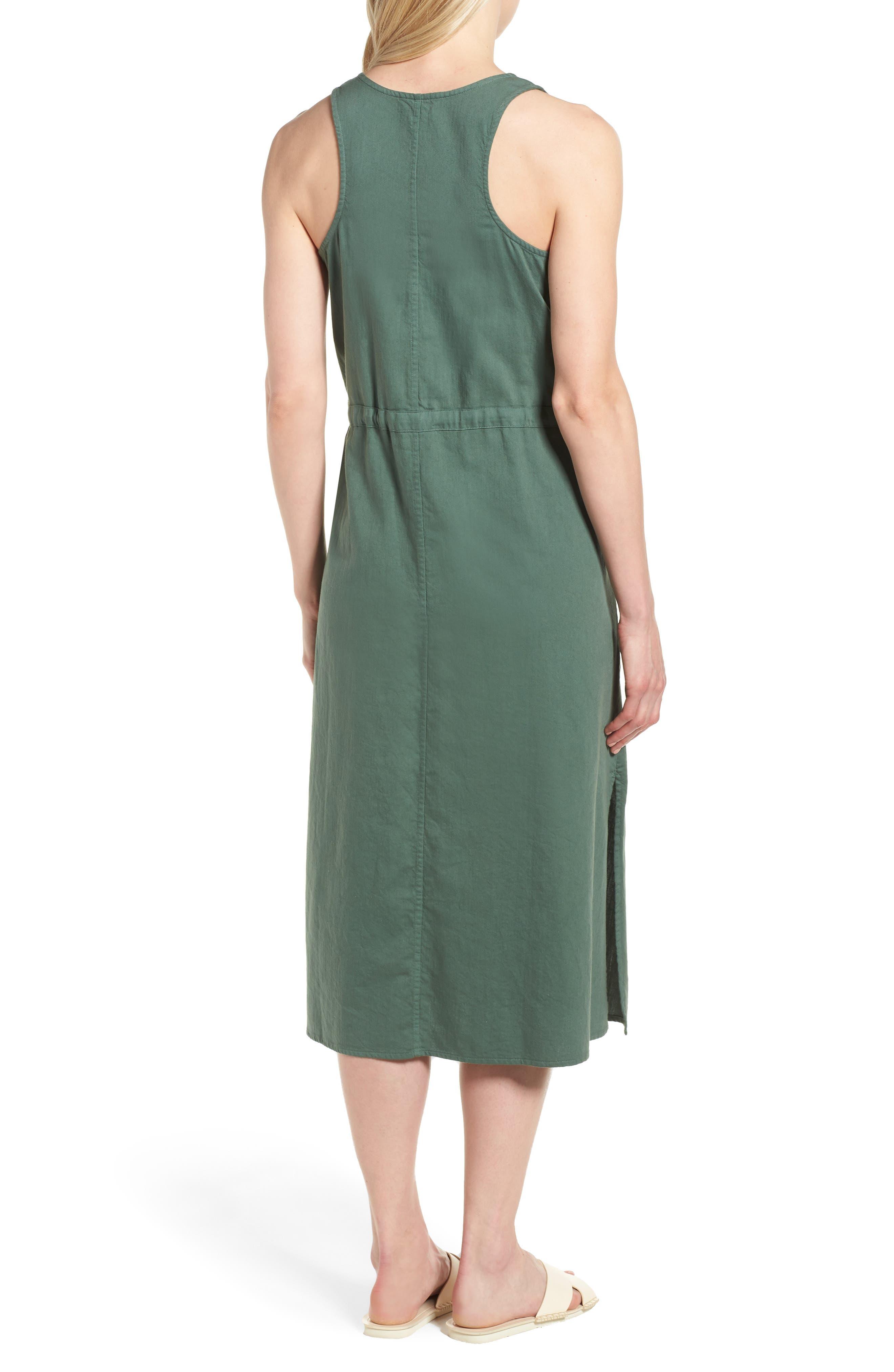 Drawstring Organic Cotton Midi Dress,                             Alternate thumbnail 8, color,
