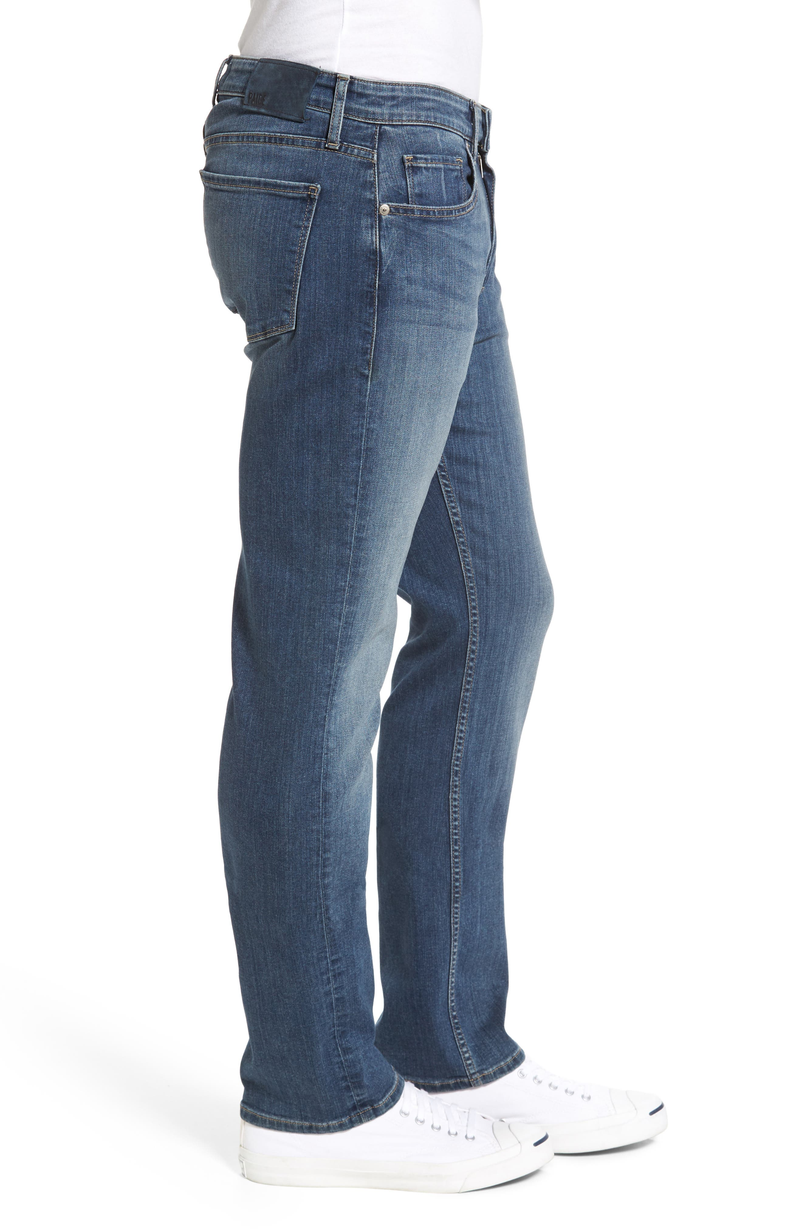 PAIGE,                             Normandie Straight Fit Jeans,                             Alternate thumbnail 3, color,                             ALMONT