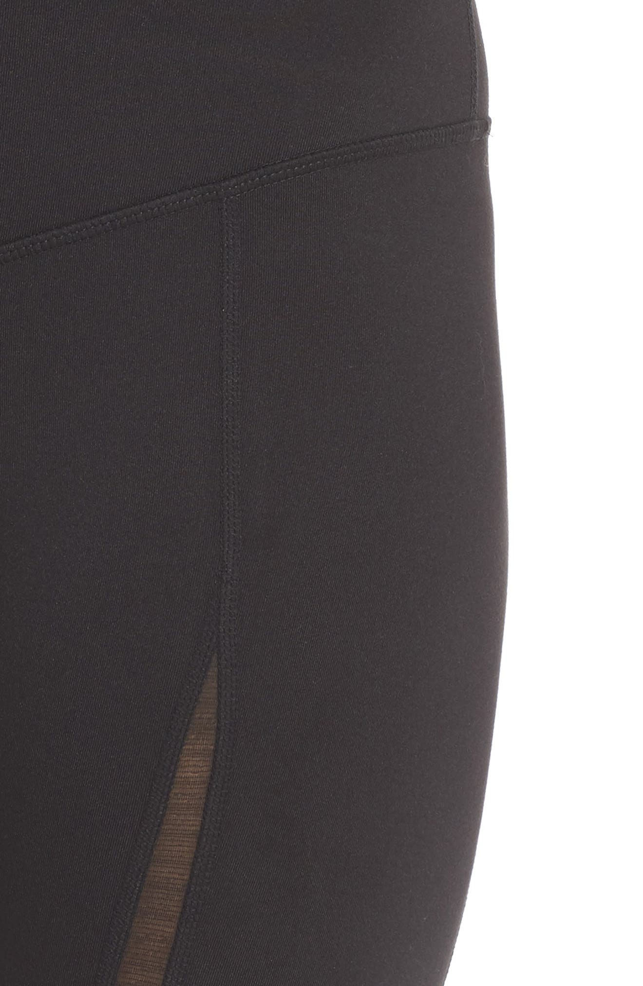 Reinvent Recycled High Waist Leggings,                             Alternate thumbnail 4, color,                             BLACK