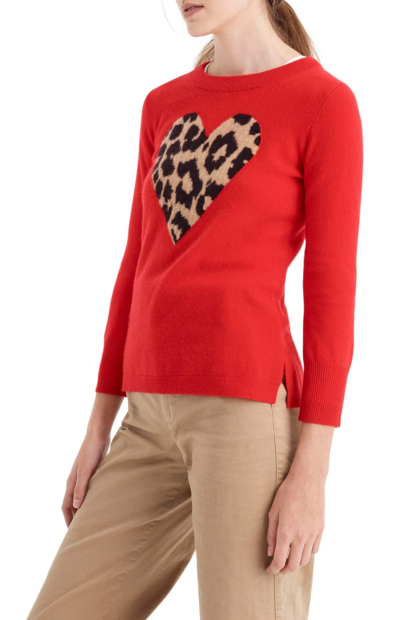 Leopard Heart Everyday Cashmere Sweater,                             Alternate thumbnail 4, color,                             600