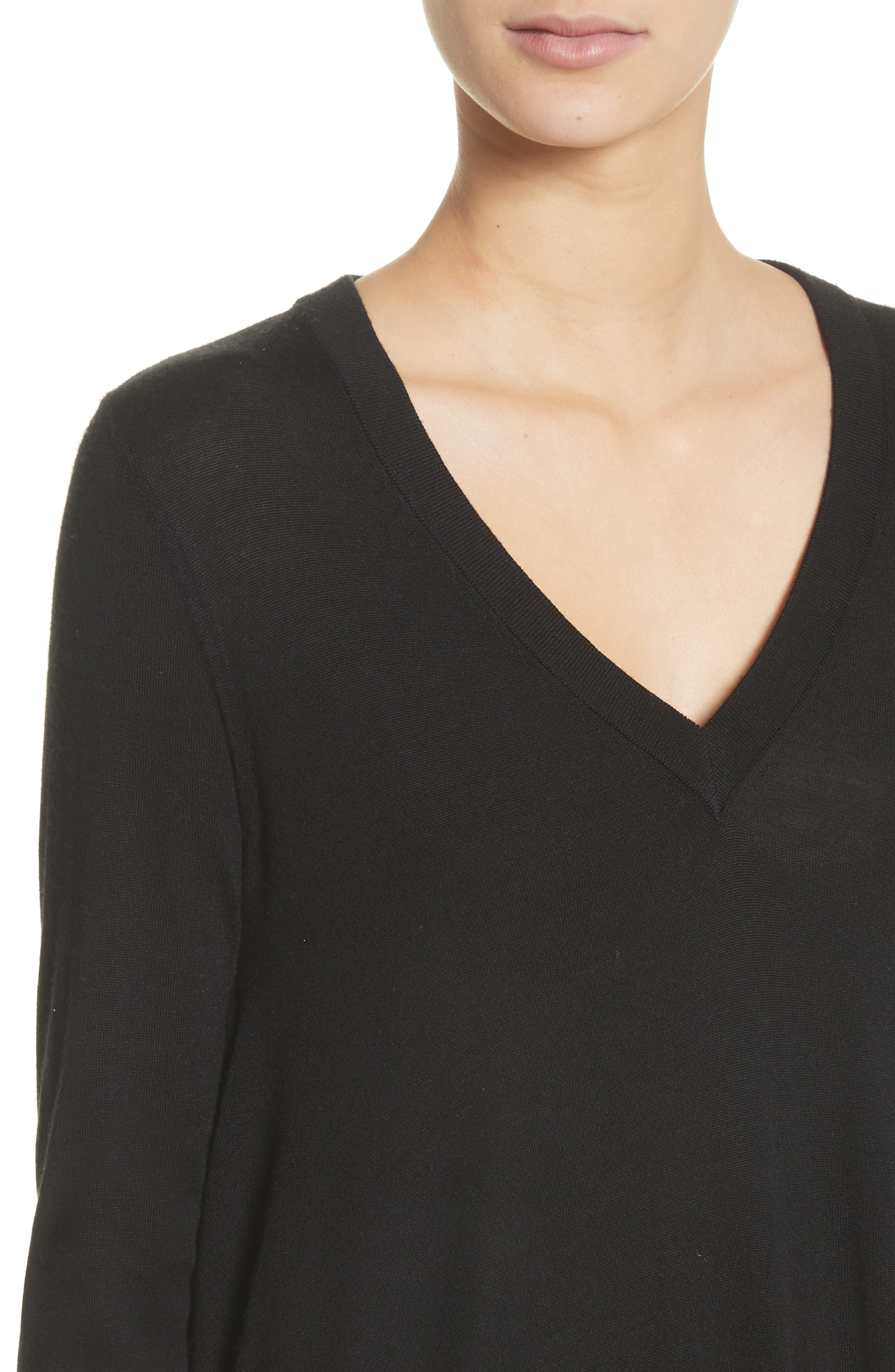 Draped Wool, Silk & Cashmere Sweater,                             Alternate thumbnail 4, color,                             001