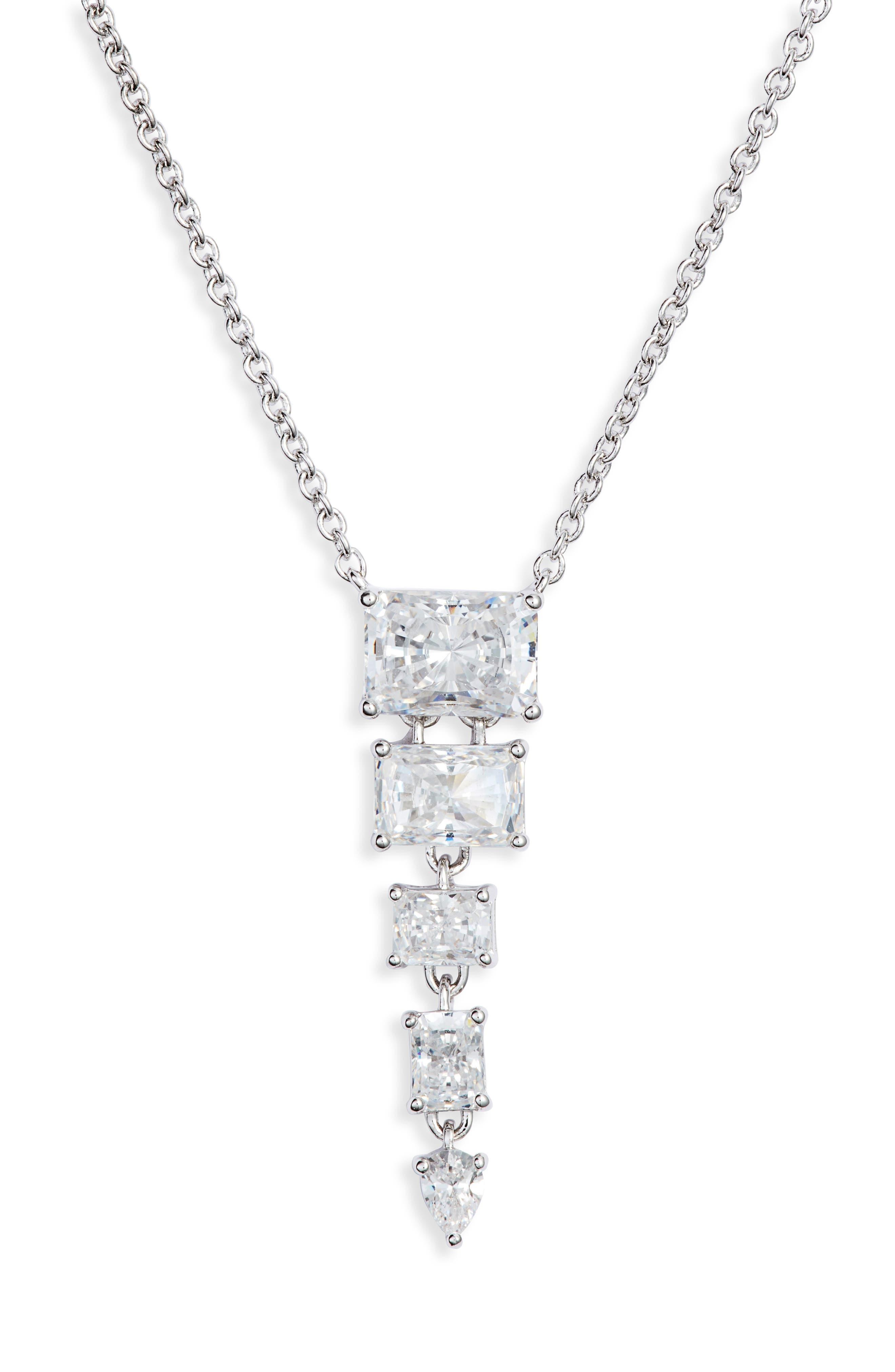 NADRI Baguette Multi Stone Pendant Necklace in White