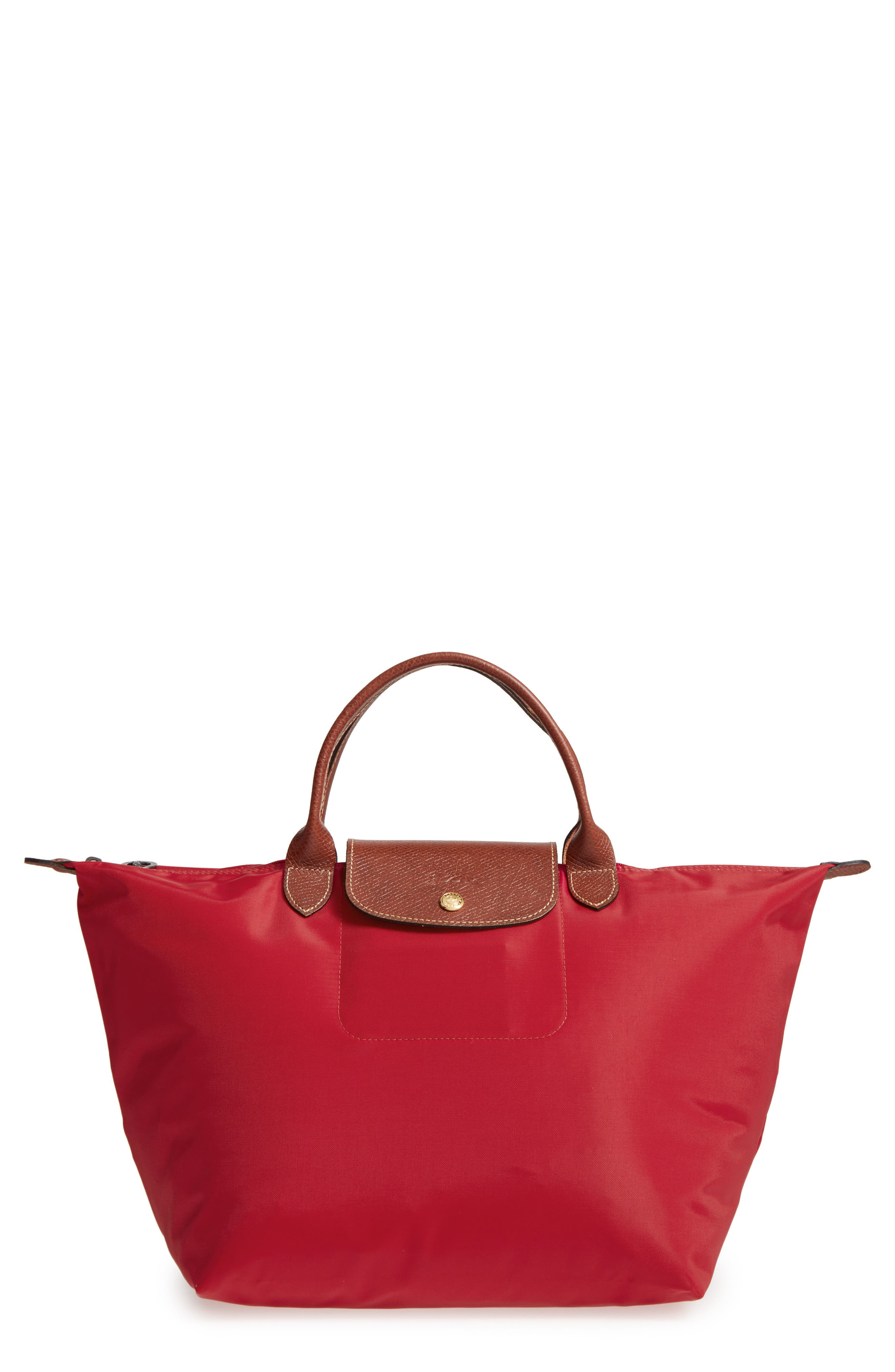 'Medium Le Pliage' Top Handle Tote,                         Main,                         color, RED