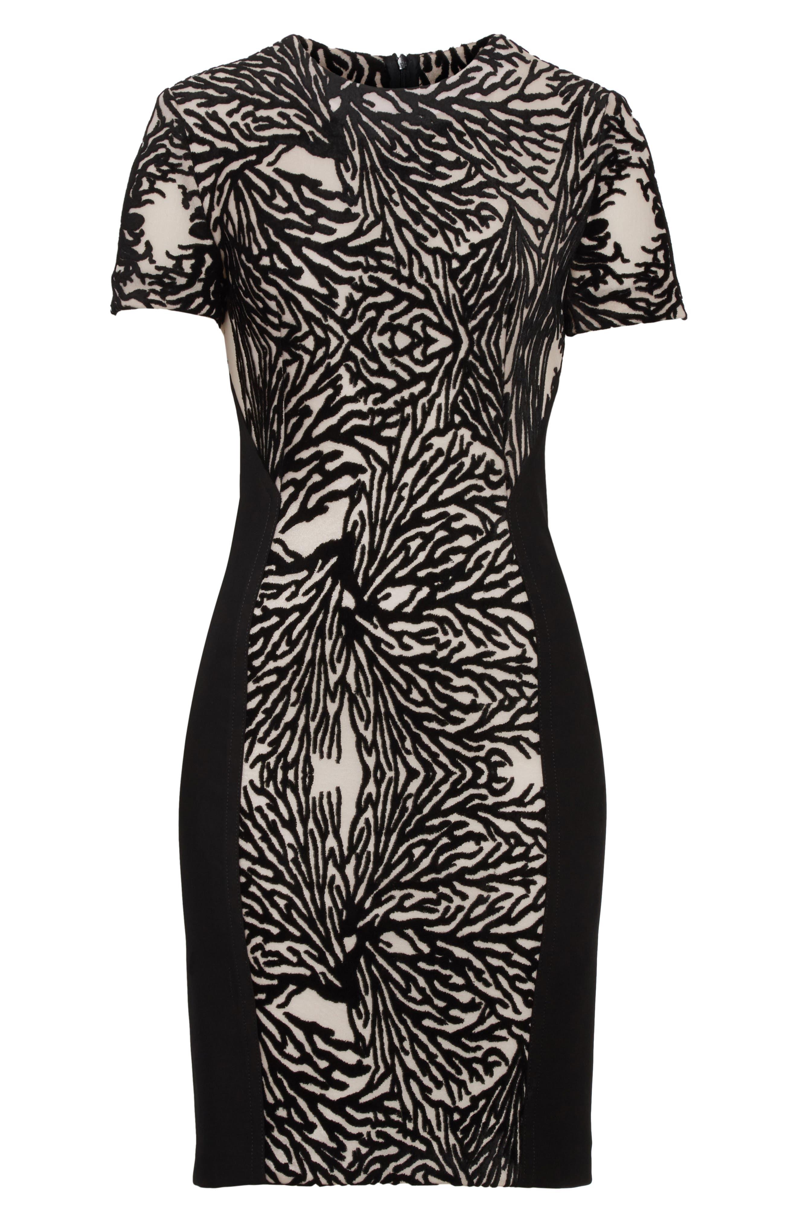 Burnout Coral Sheath Dress,                             Alternate thumbnail 6, color,