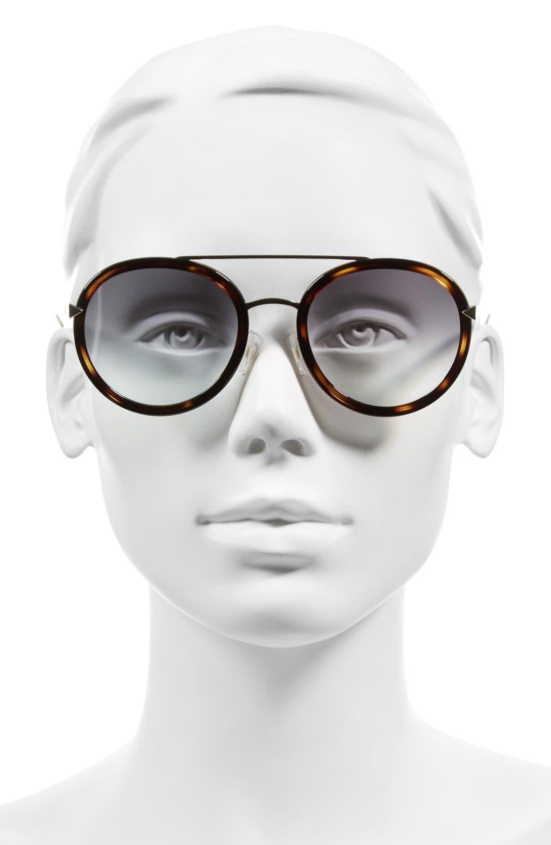 51mm Round Aviator Sunglasses,                             Alternate thumbnail 2, color,                             HAVANA/ GOLD