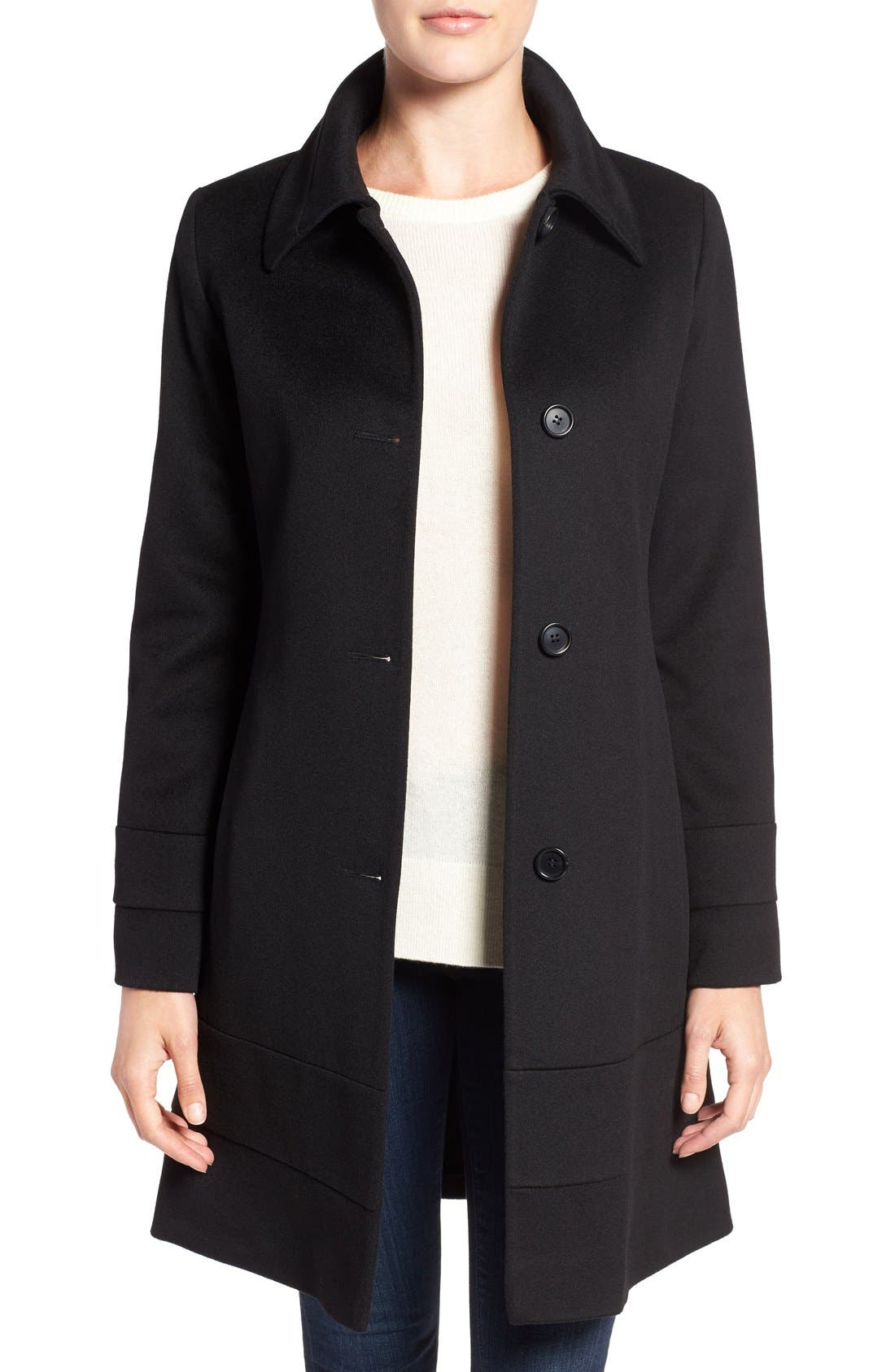 Fit & Flare Wool Coat,                         Main,                         color, 001