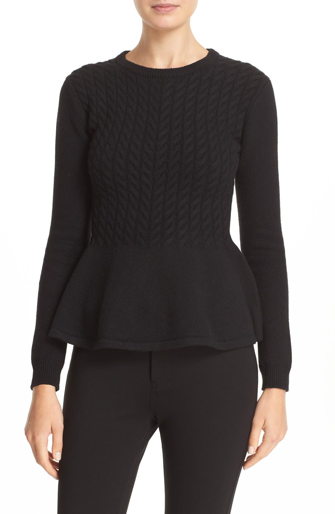 TED BAKER LONDON 'Mereda' Cable Knit Peplum Sweater, Main, color, 001