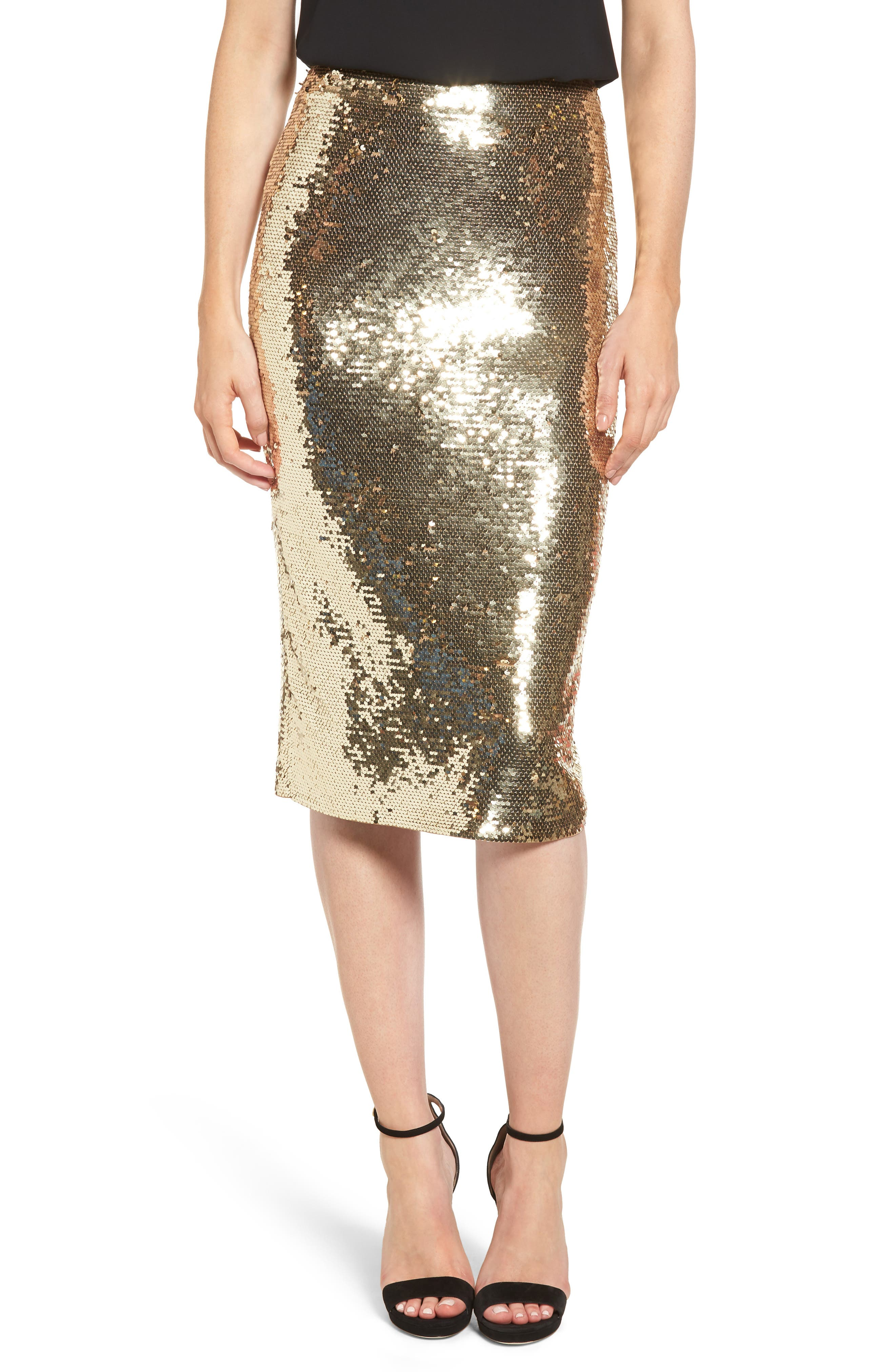 Sequin Pencil Skirt,                         Main,                         color, GOLD