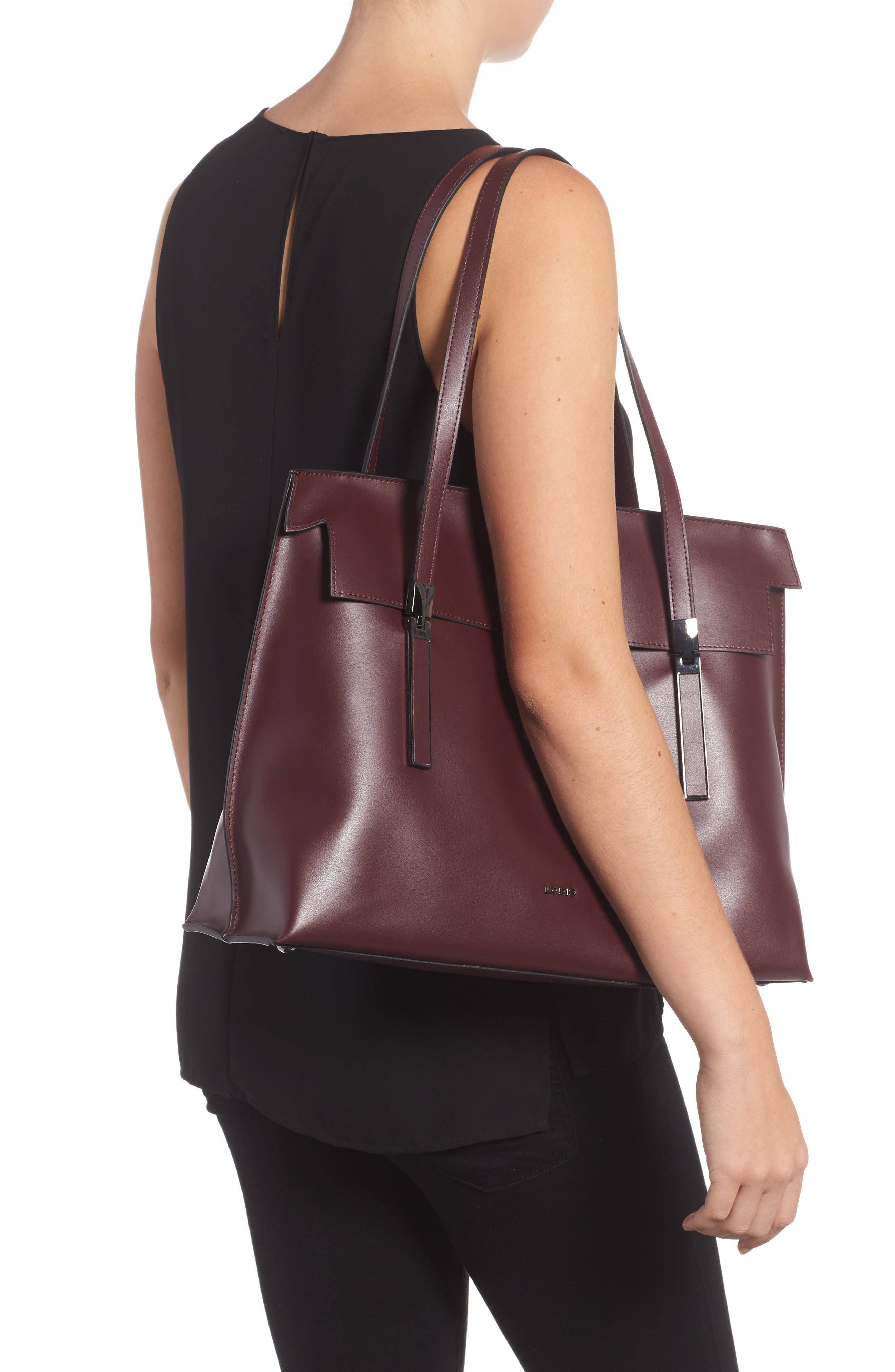 LODIS Silicon Valley - Lorrain RFID Leather Satchel,                             Alternate thumbnail 6, color,