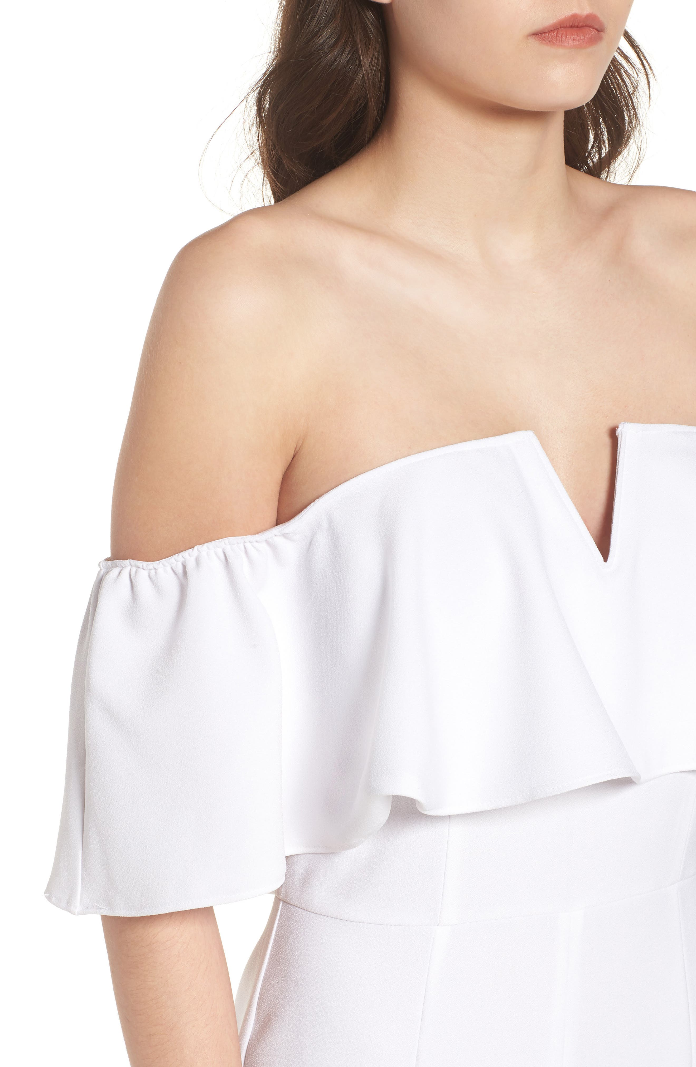 Strapless Off the Shoulder Jumpsuit,                             Alternate thumbnail 4, color,                             WHITE