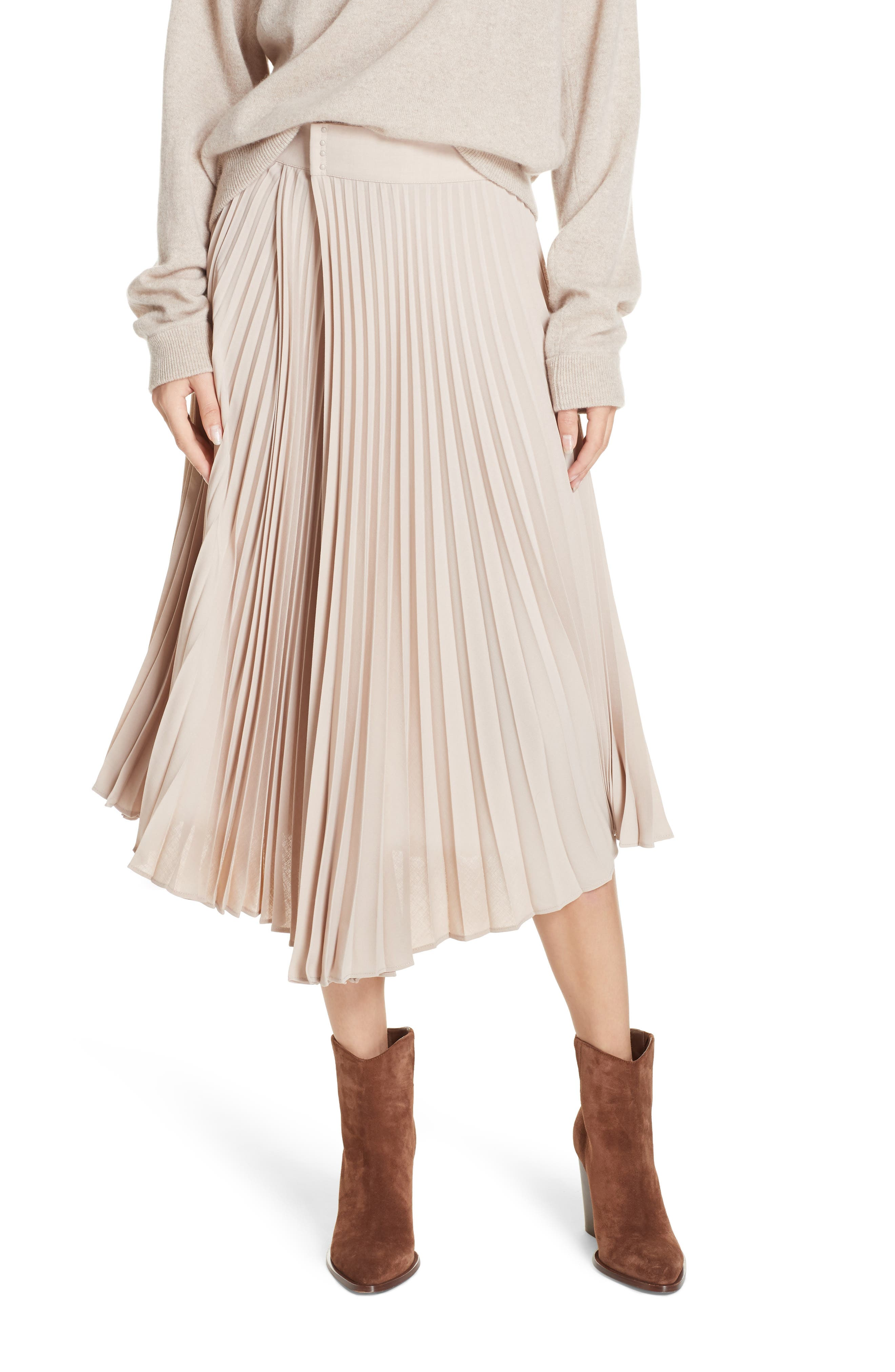Asymmetric Hem Pleated Skirt,                         Main,                         color, STONEWARE