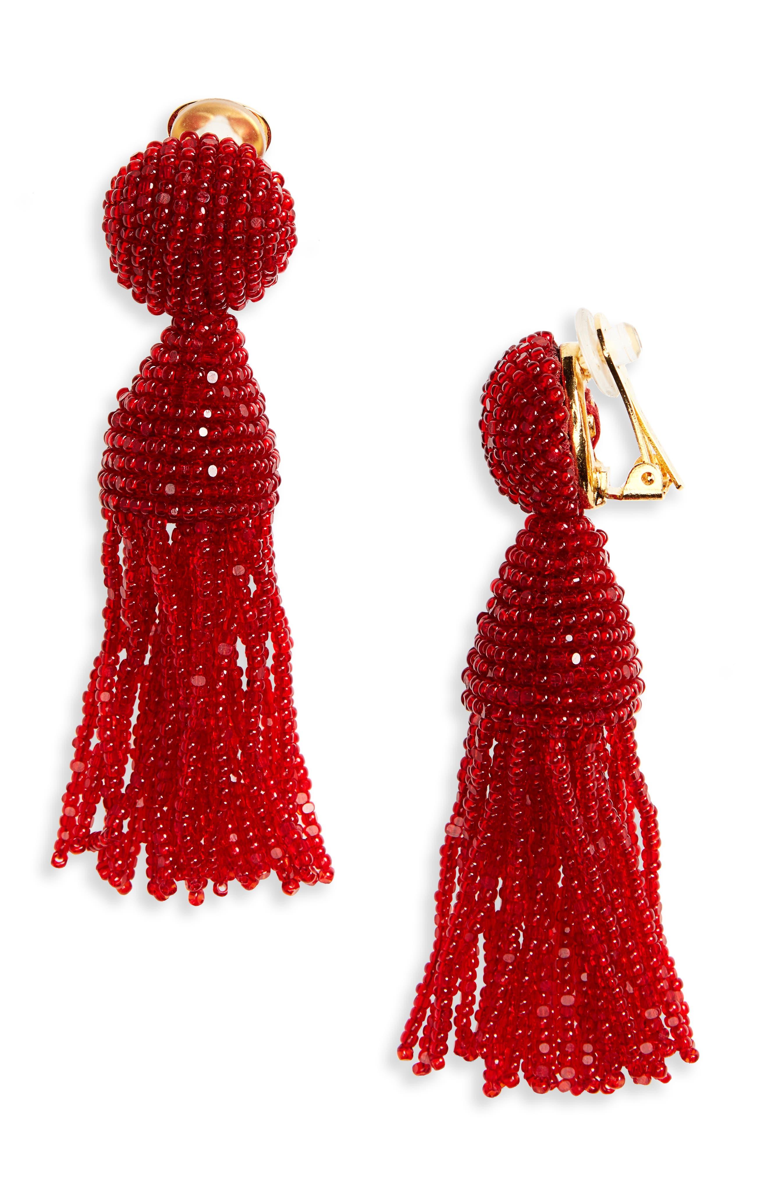 'Classic Short' Tassel Drop Clip Earrings,                             Main thumbnail 5, color,
