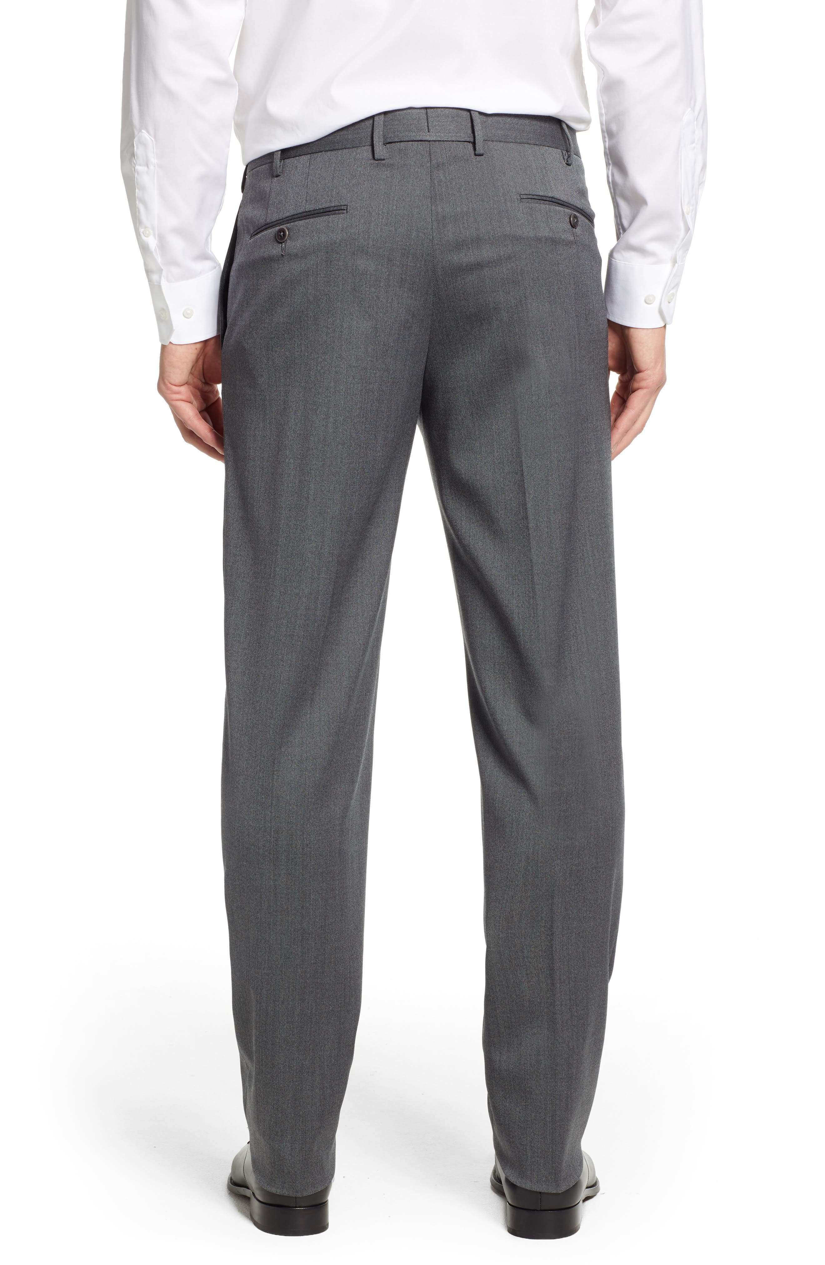 Parker Flat Front Stretch Twill Wool Trousers,                             Alternate thumbnail 2, color,                             GREY