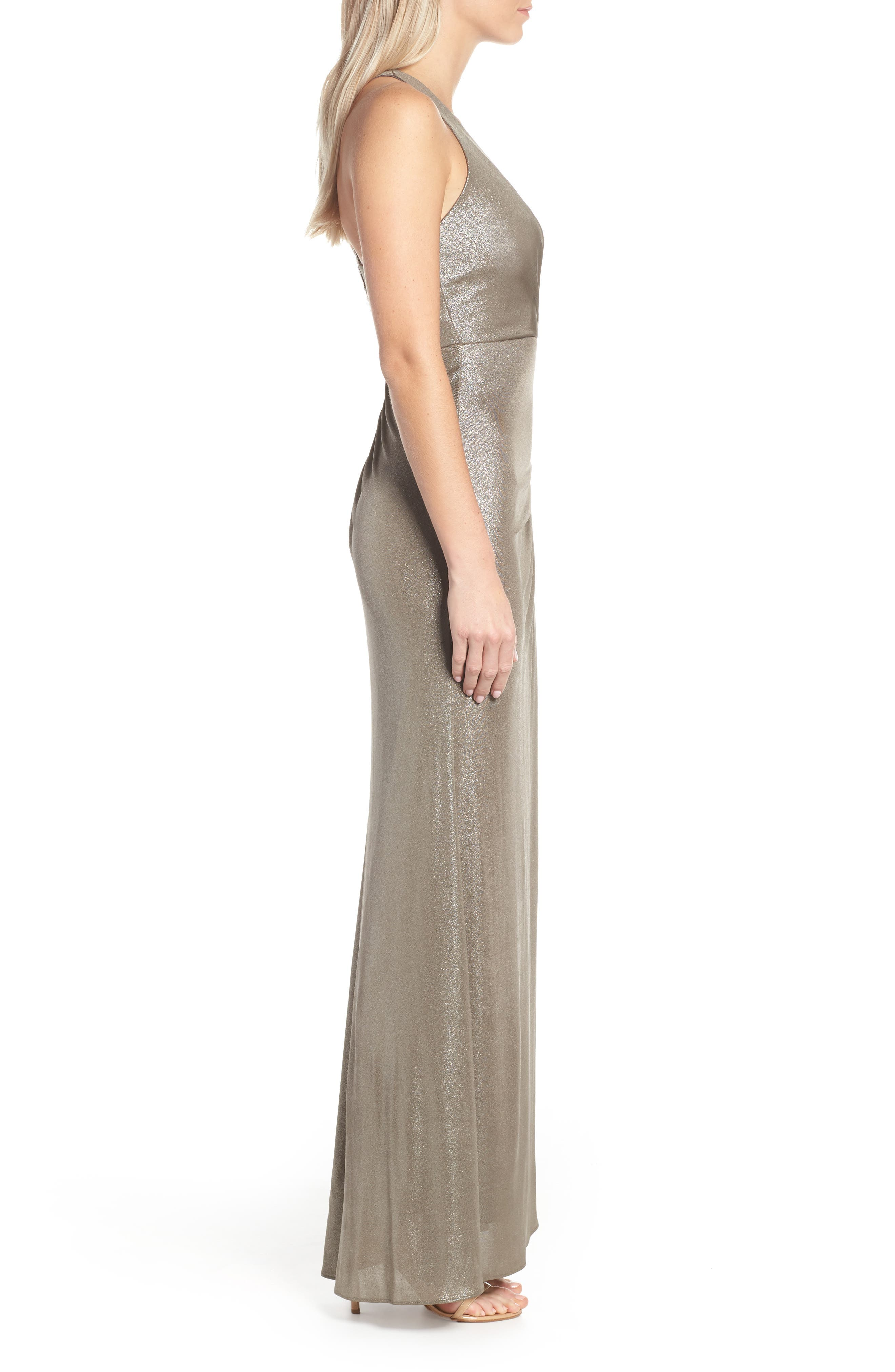 Ruched Metallic Jersey Gown,                             Alternate thumbnail 3, color,                             MINK