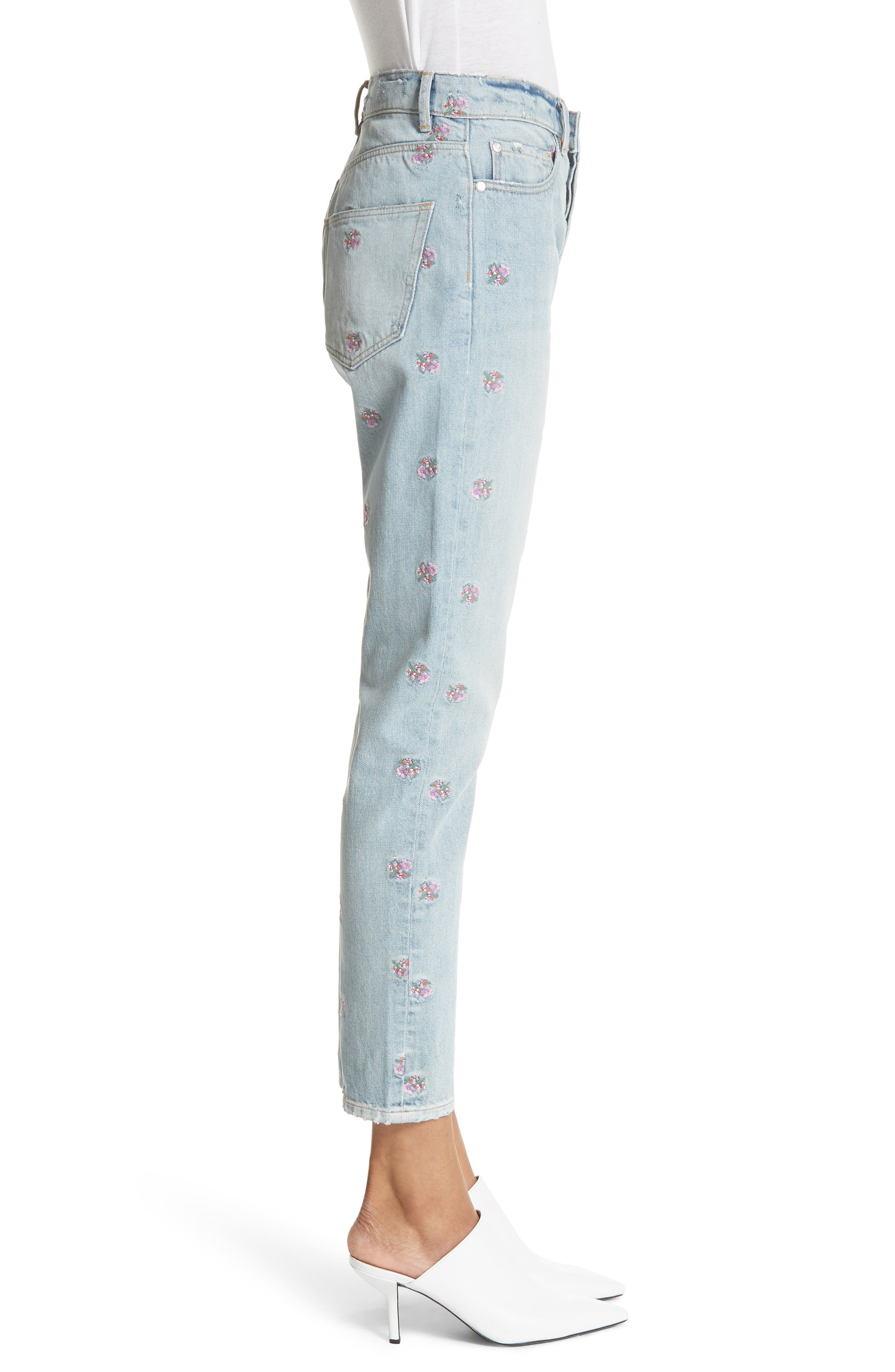 Beatrice Embroidered Crop Straight Leg Jeans,                             Alternate thumbnail 3, color,                             459