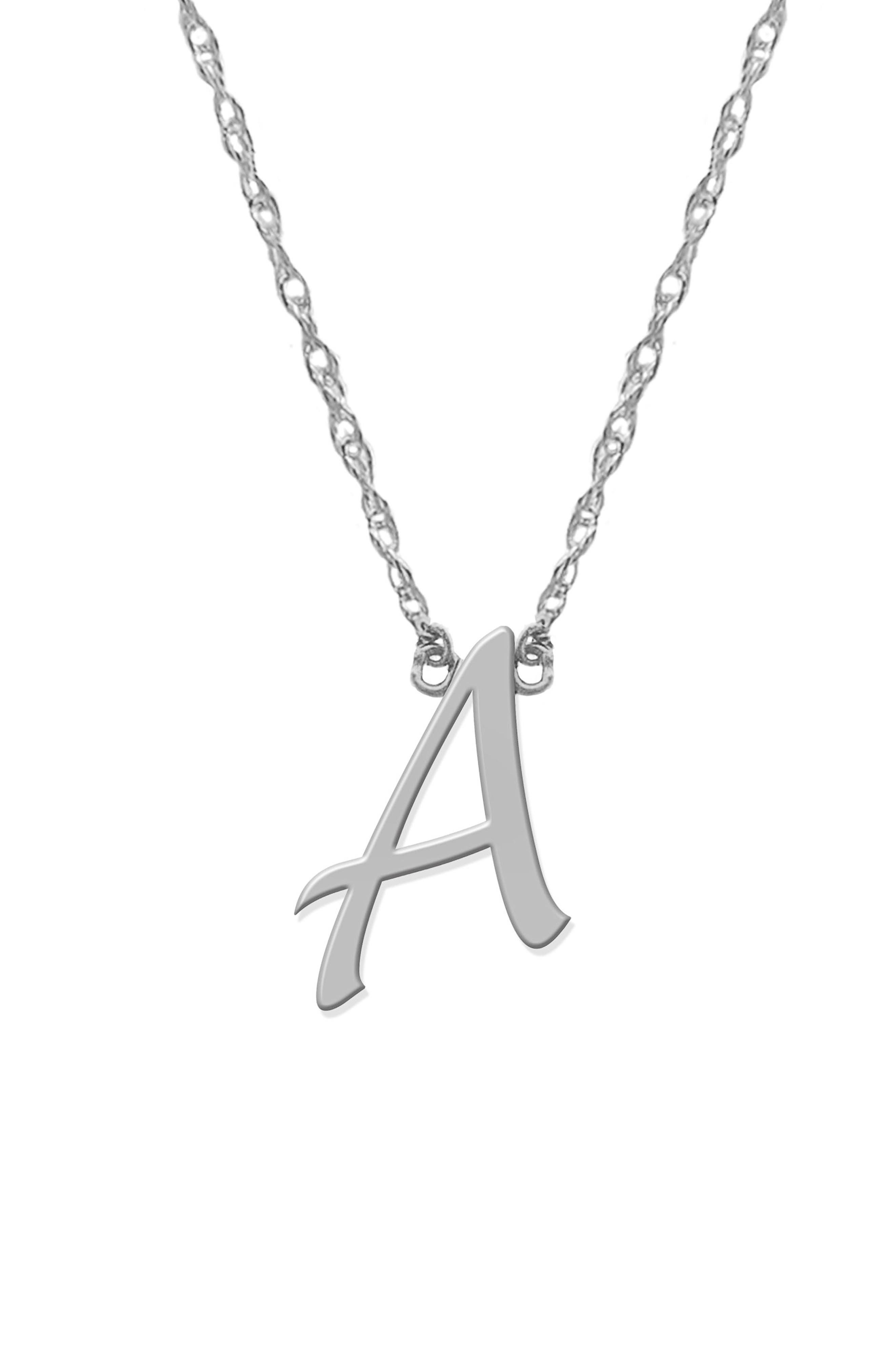 Initial Pendant Necklace,                         Main,                         color, SILVER- A