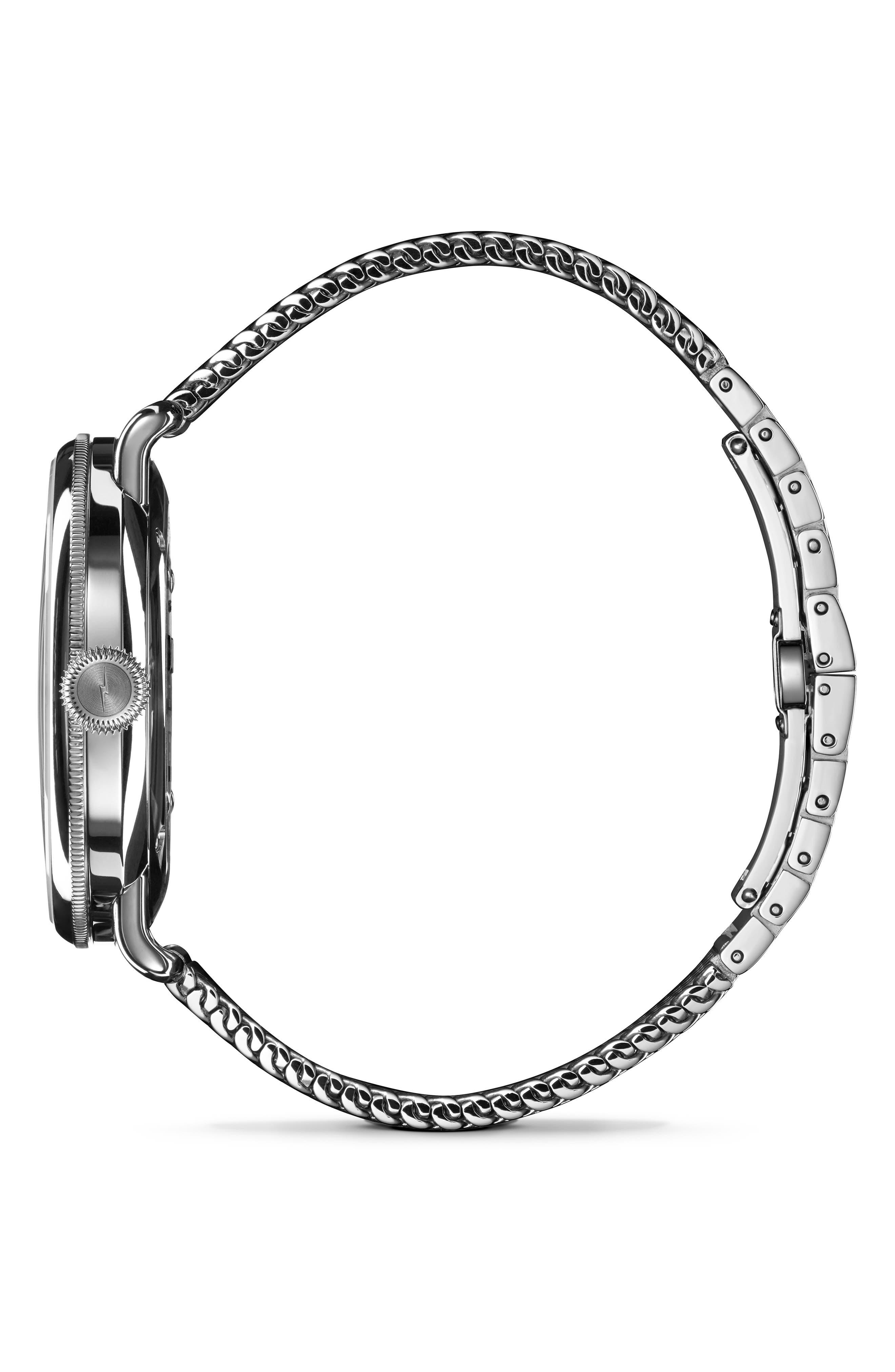 The Canfield Mesh Bracelet Watch, 43mm,                             Alternate thumbnail 3, color,                             GUNMETAL/ BLACK/ GUNMETAL