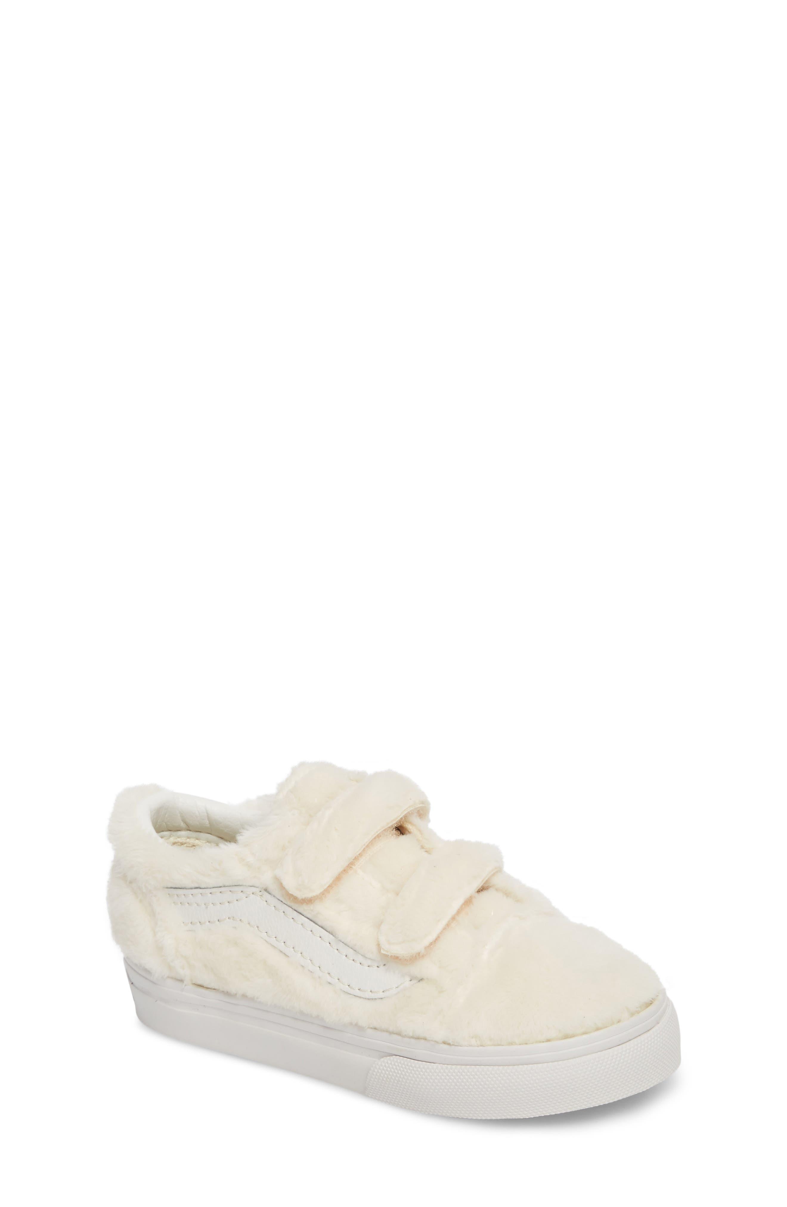 Old Skool V Faux Fur Sneaker,                         Main,                         color, 900