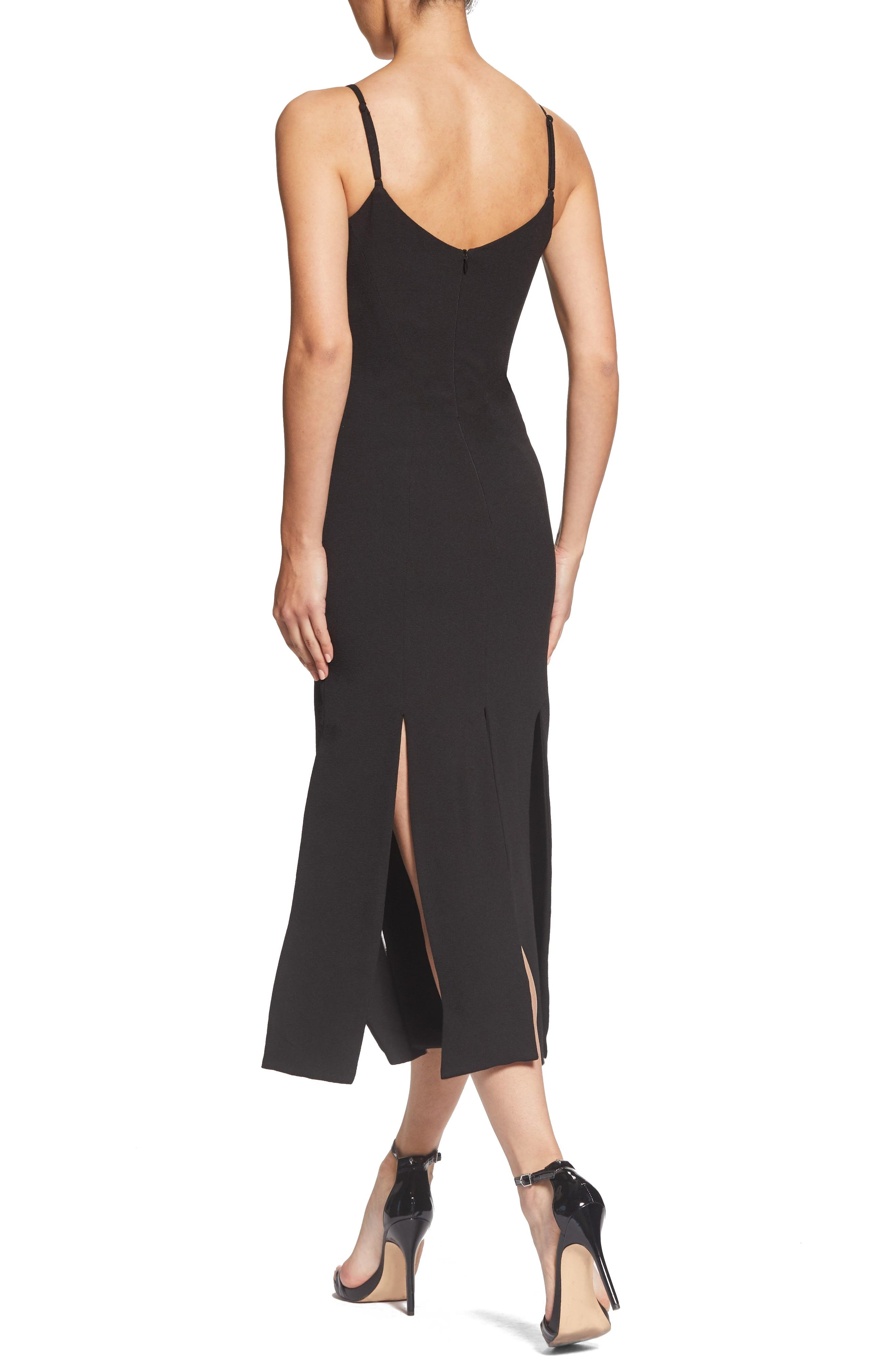 Devon Midi Dress,                             Alternate thumbnail 2, color,                             BLACK