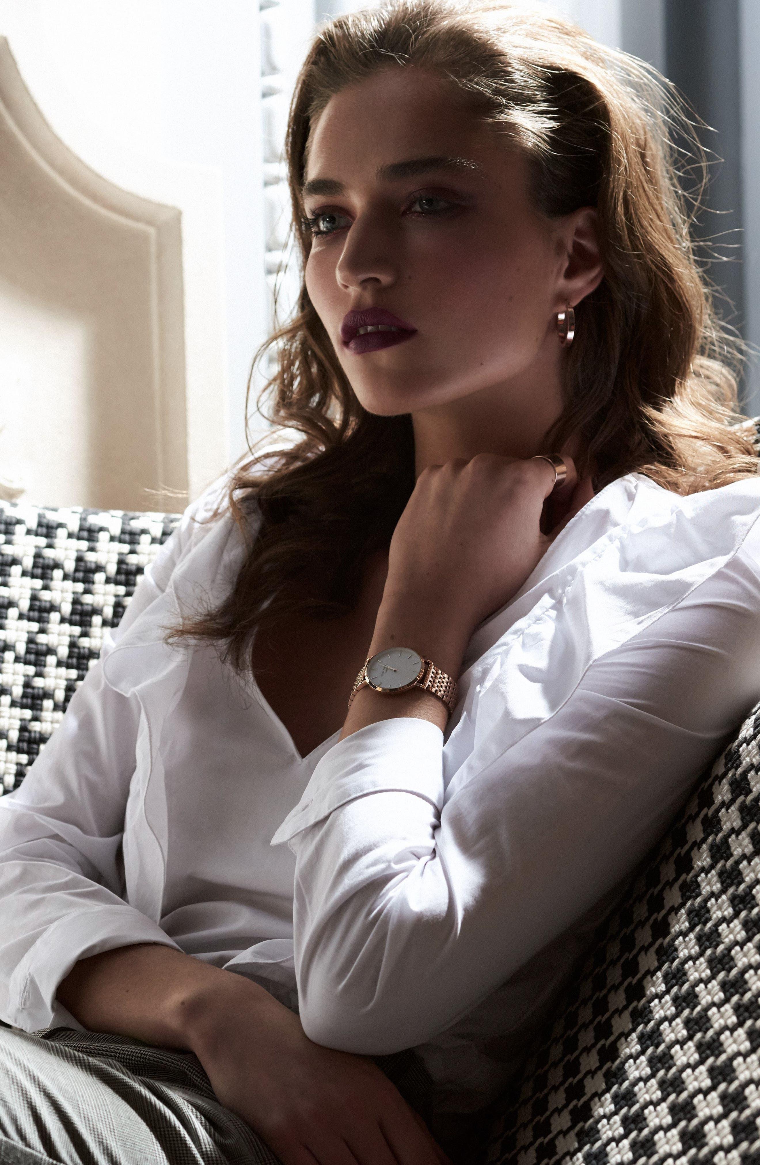 Upper East Side Bracelet Watch, 33mm,                             Alternate thumbnail 3, color,                             ROSE GOLD/ WHITE/ ROSE GOLD