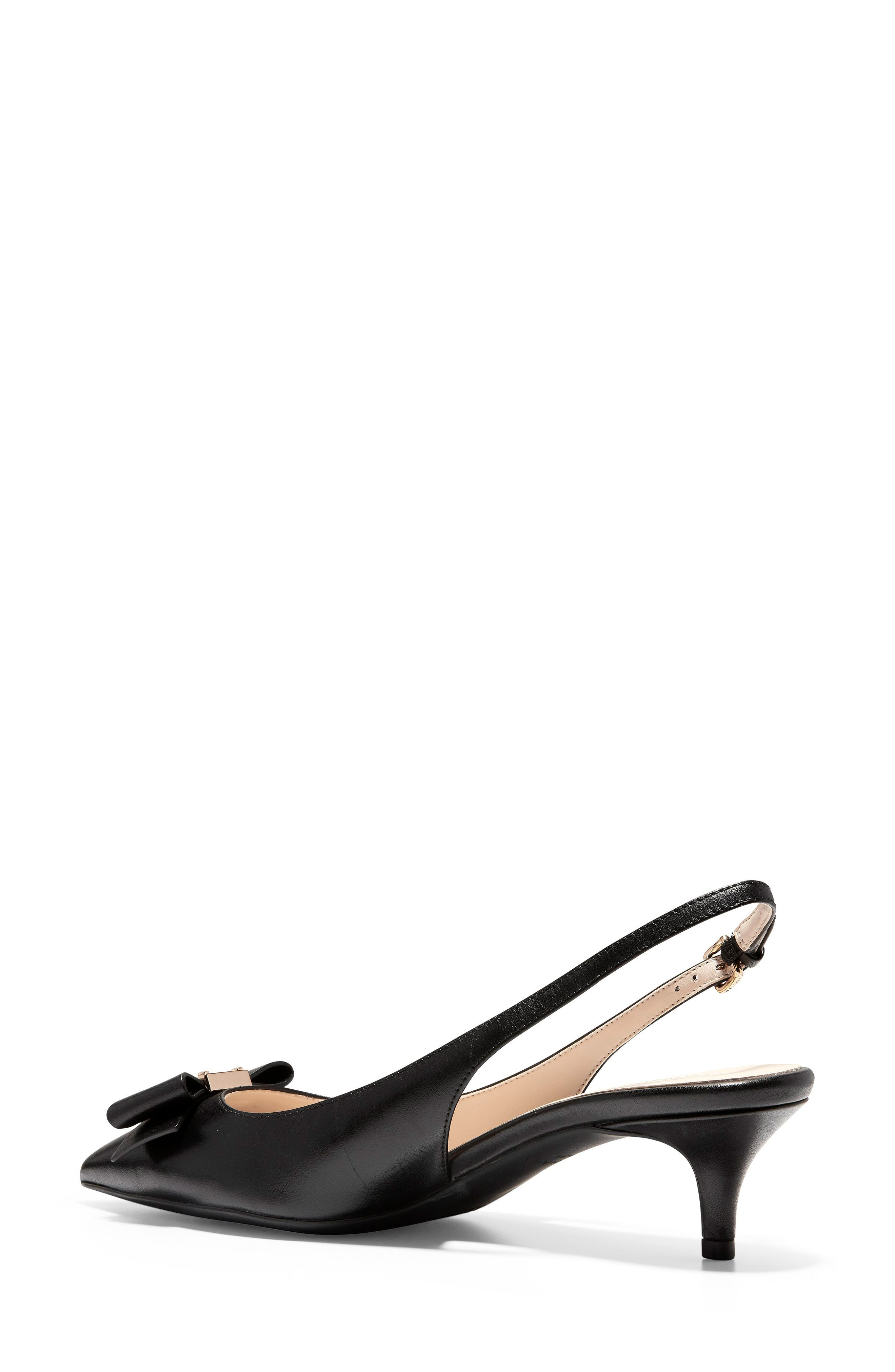 COLE HAAN,                             Tali Bow Slingback Pump,                             Alternate thumbnail 2, color,                             BLACK LEATHER
