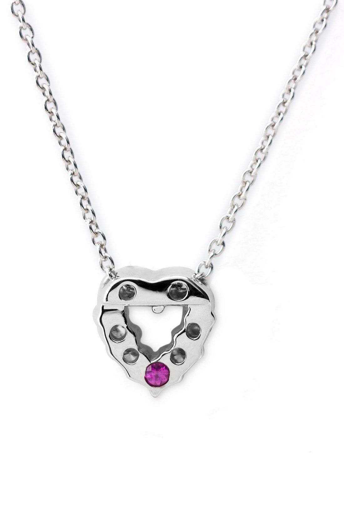 'Tiny Treasures' Diamond Heart Pendant Necklace,                             Alternate thumbnail 4, color,                             WHITE GOLD