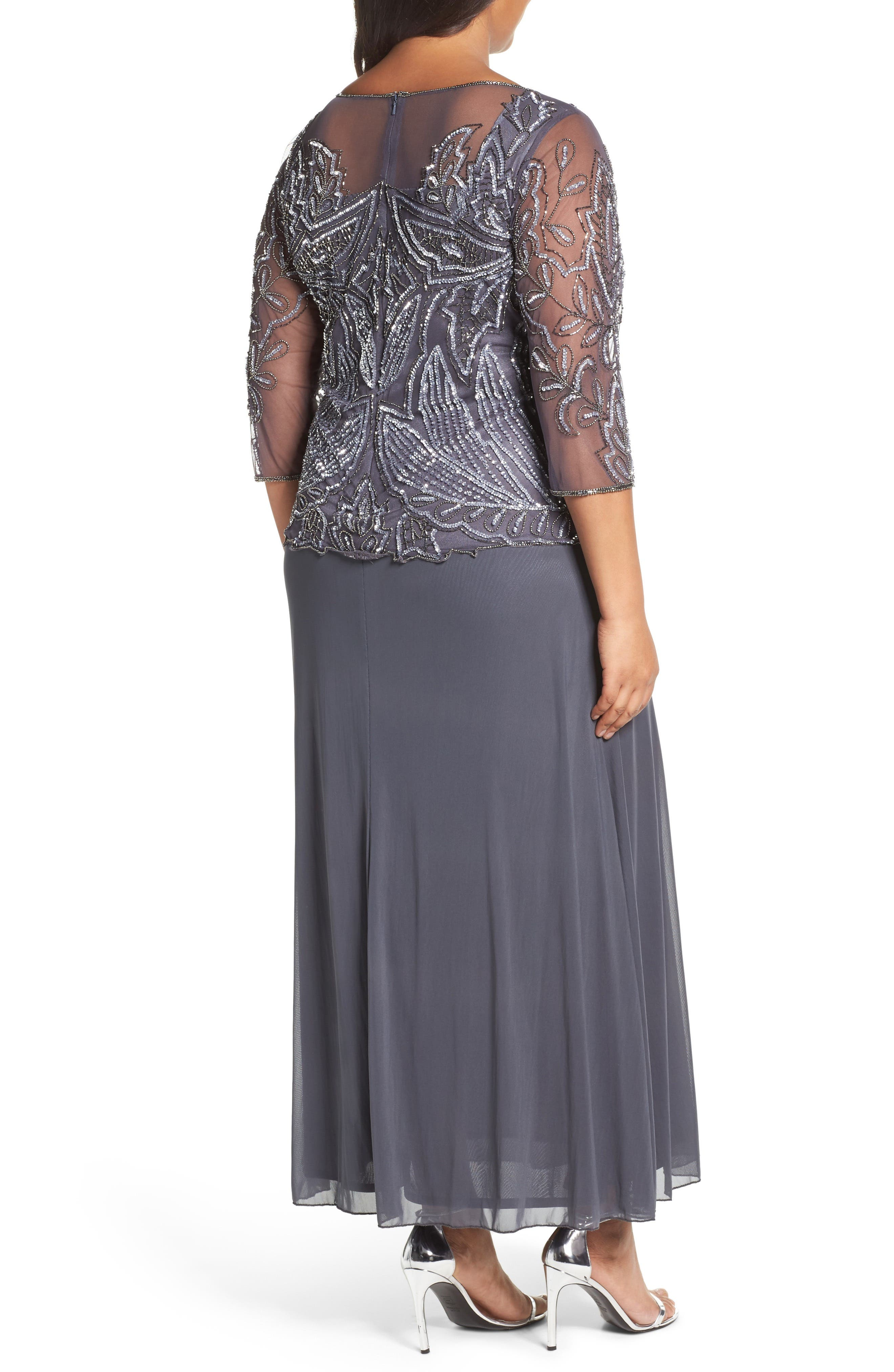 Illusion Neck Beaded A-Line Gown,                             Alternate thumbnail 2, color,                             NEW SLATE