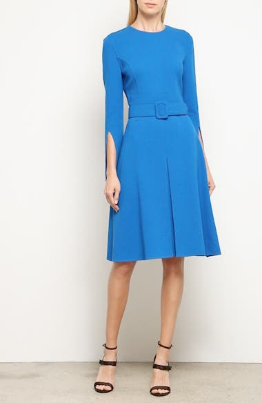 Split Sleeve Stretch Wool Crepe Dress, video thumbnail