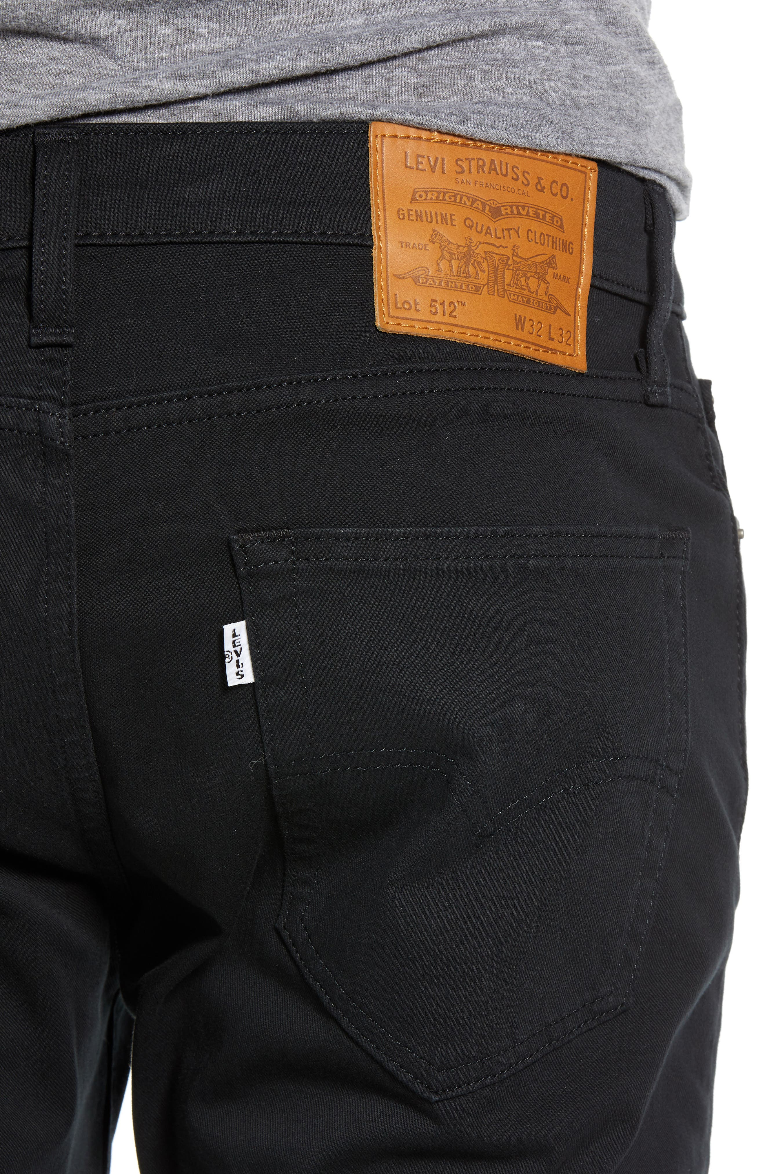 512<sup>™</sup> Slouchy Skinny Fit Twill Pants,                             Alternate thumbnail 4, color,                             BLACK WONDER KNIT TWILL